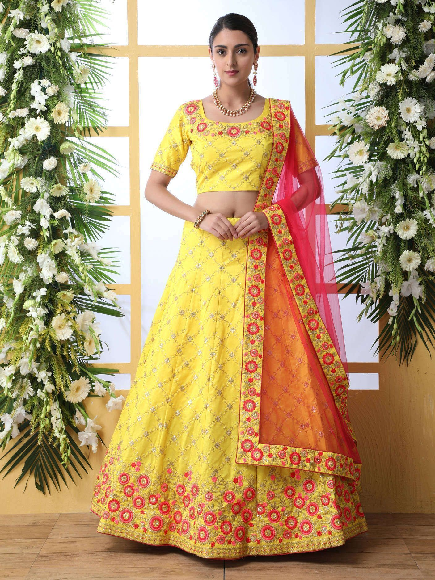 Yellow Sequins Embroidered Art Silk Lehenga Choli With Dupatta