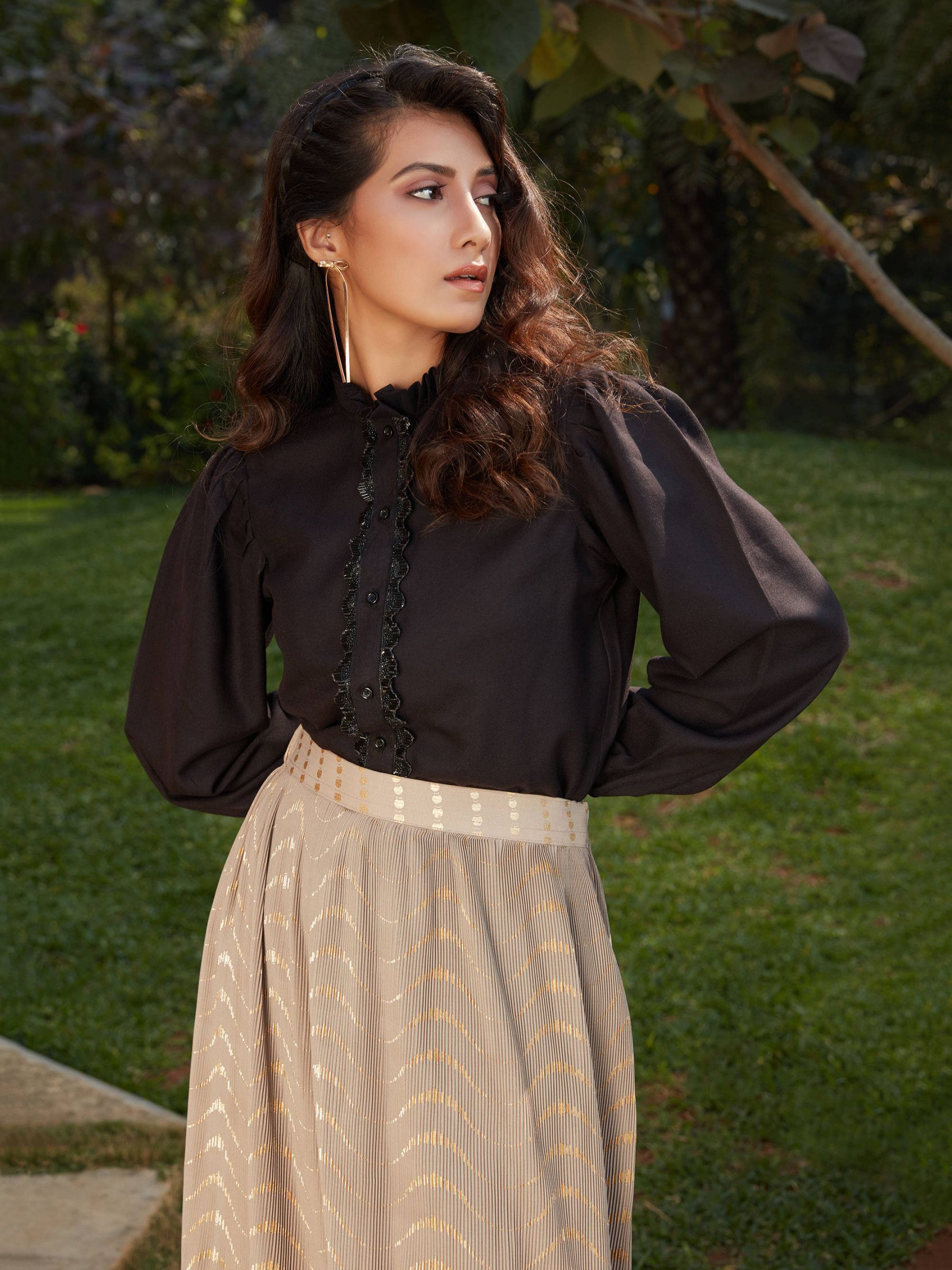 Black Cream Imported Indo Western Ready To Wear Skirt With Crop Top