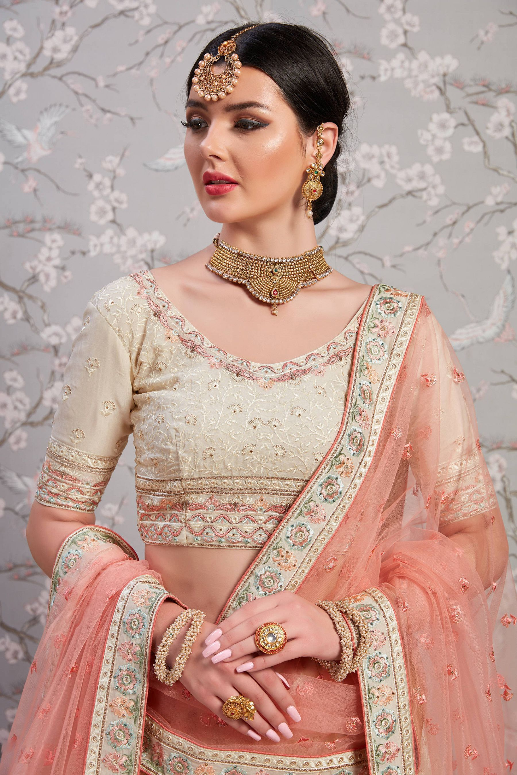 Buy Cream Embroidery Georgette Bridal Lehenga Choli With ...
