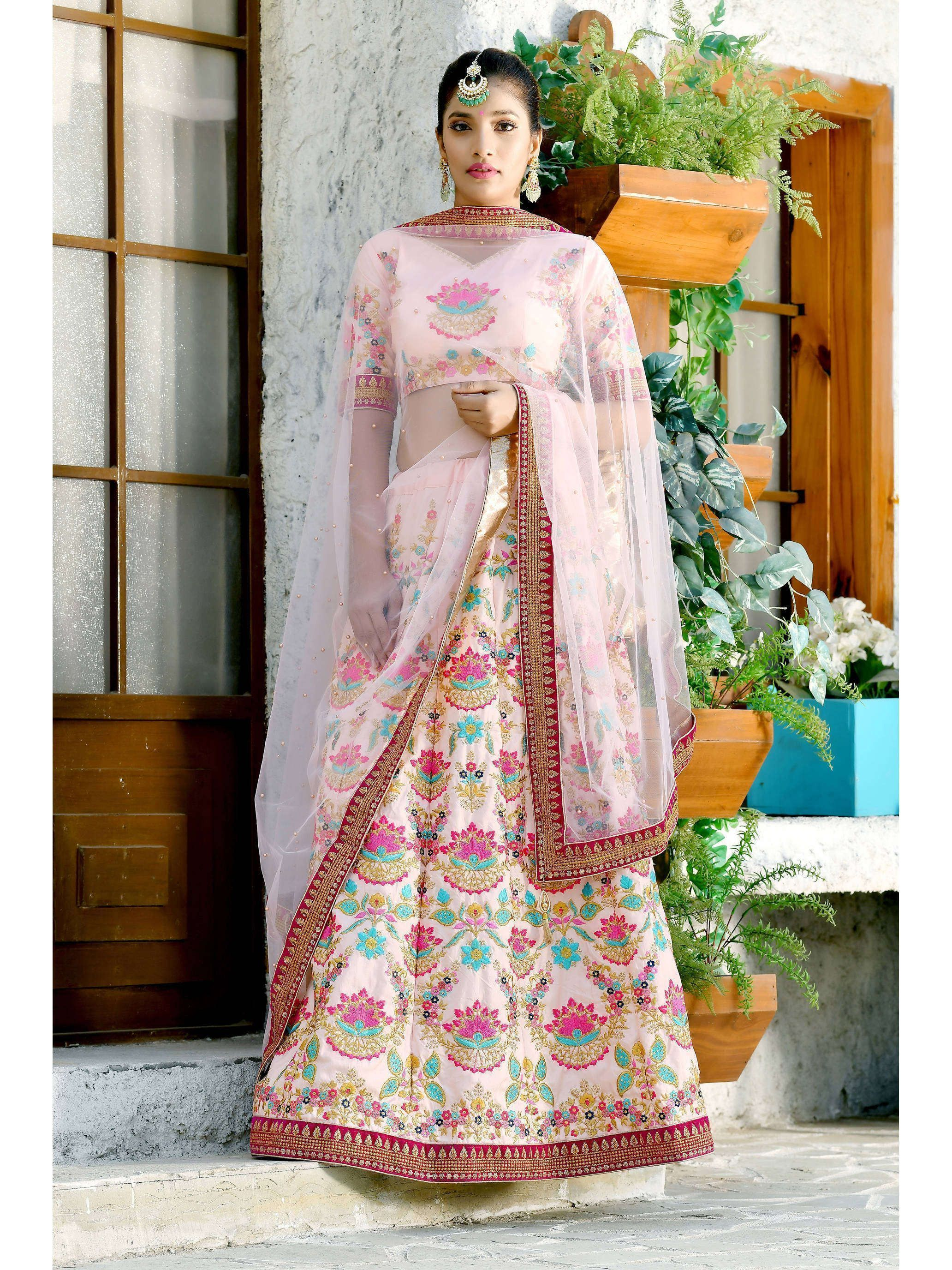 Light Pink Embroidered Silk Lehenga Choli