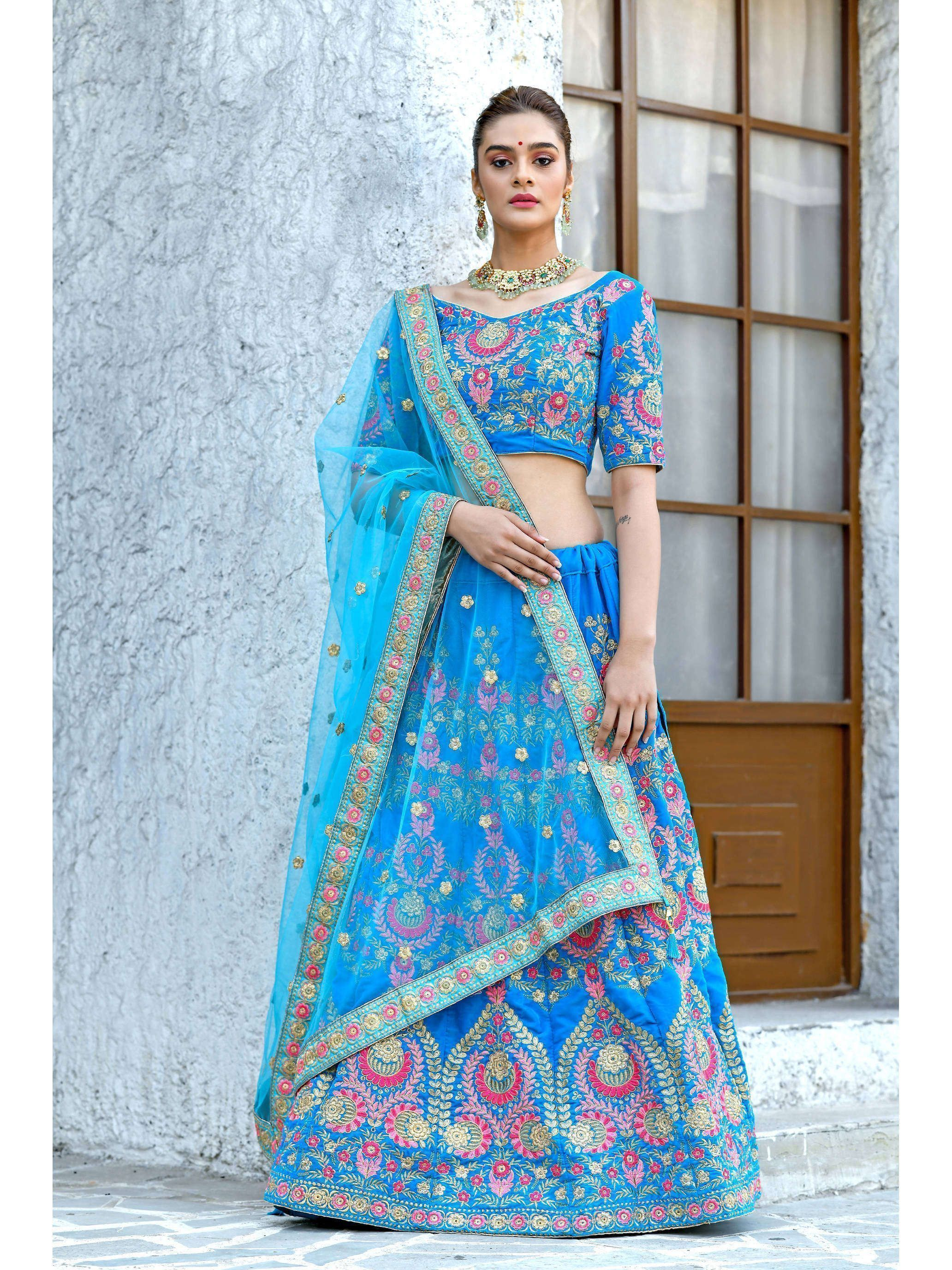 Sky Blue Velvet Embroidered Lehenga Choli