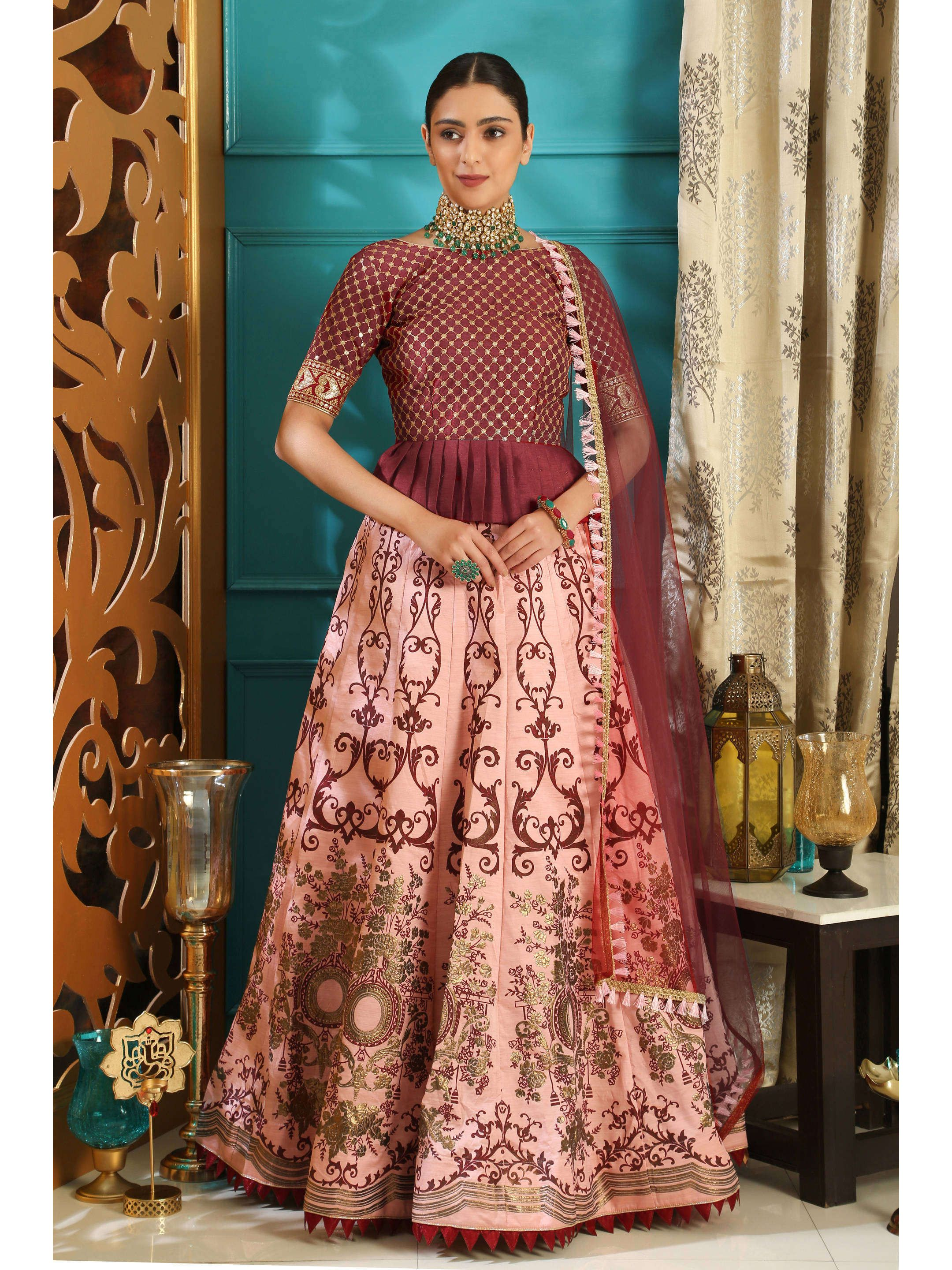Maroon-Pink Embroidered Bridal Lehenga Choli (Default)