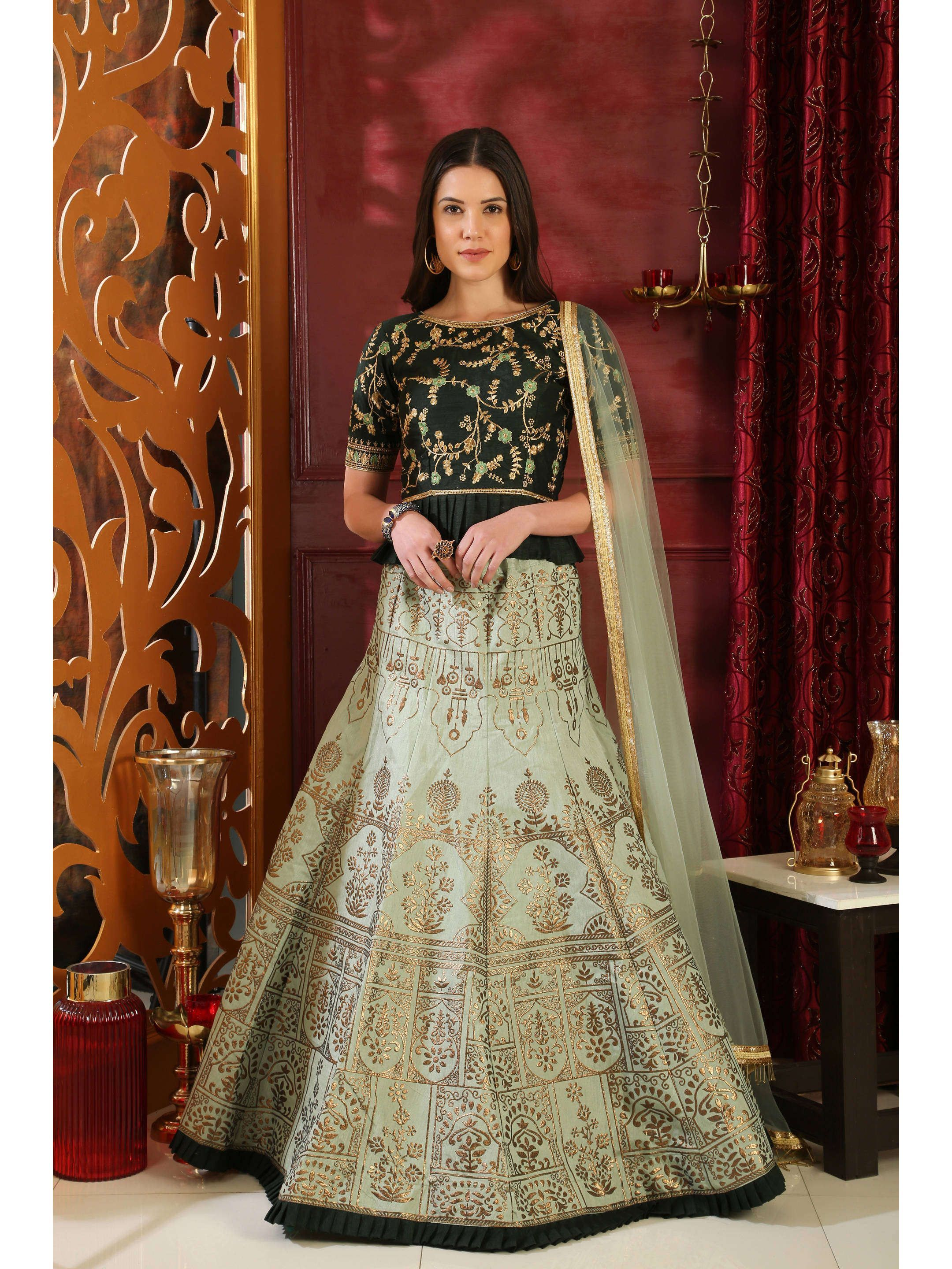 Green Embroidered Bridal Lehenga Choli (Default)