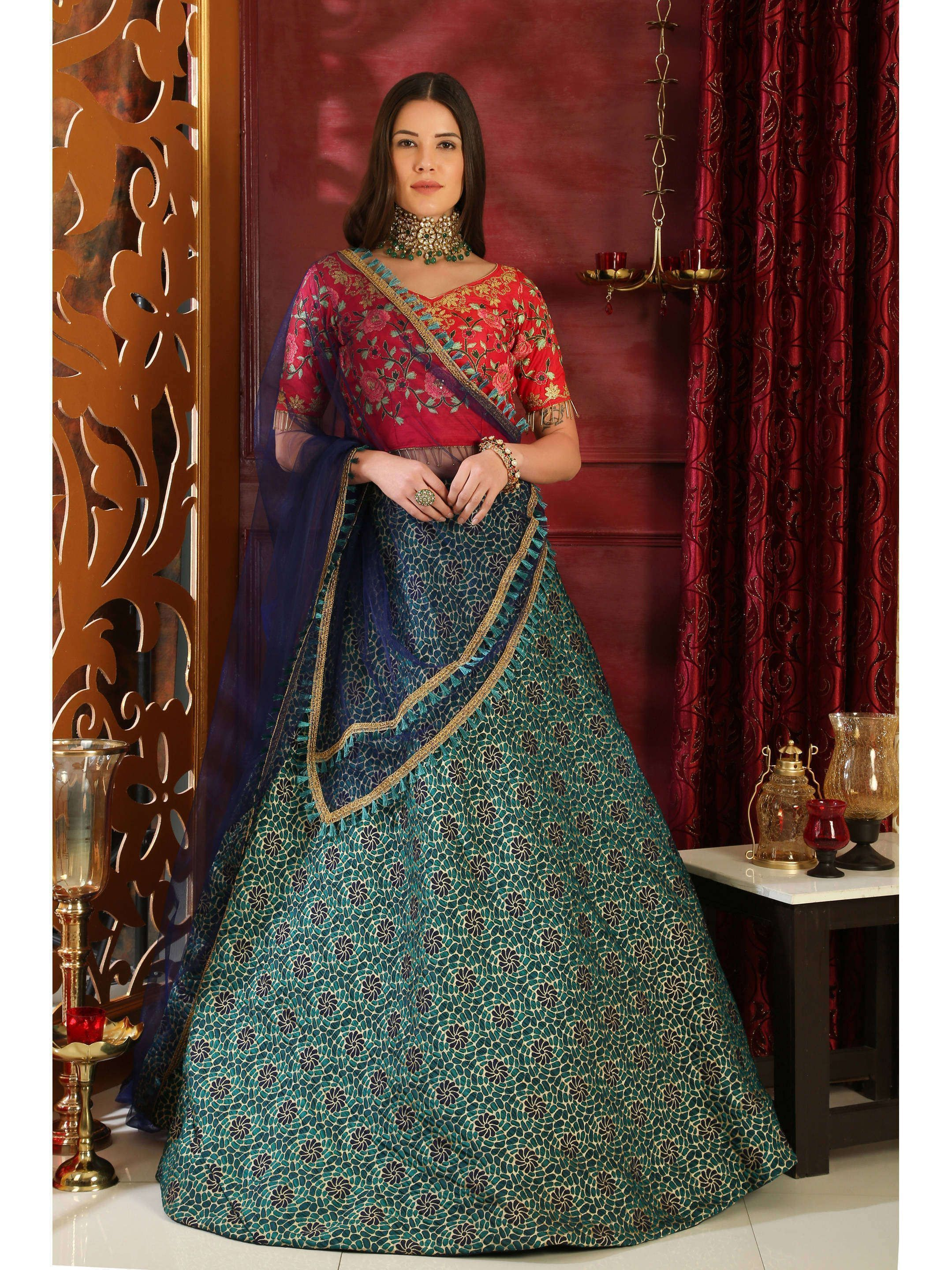 Rama-Red Multi colored Embroidered Bridal Lehenga Choli (Default)