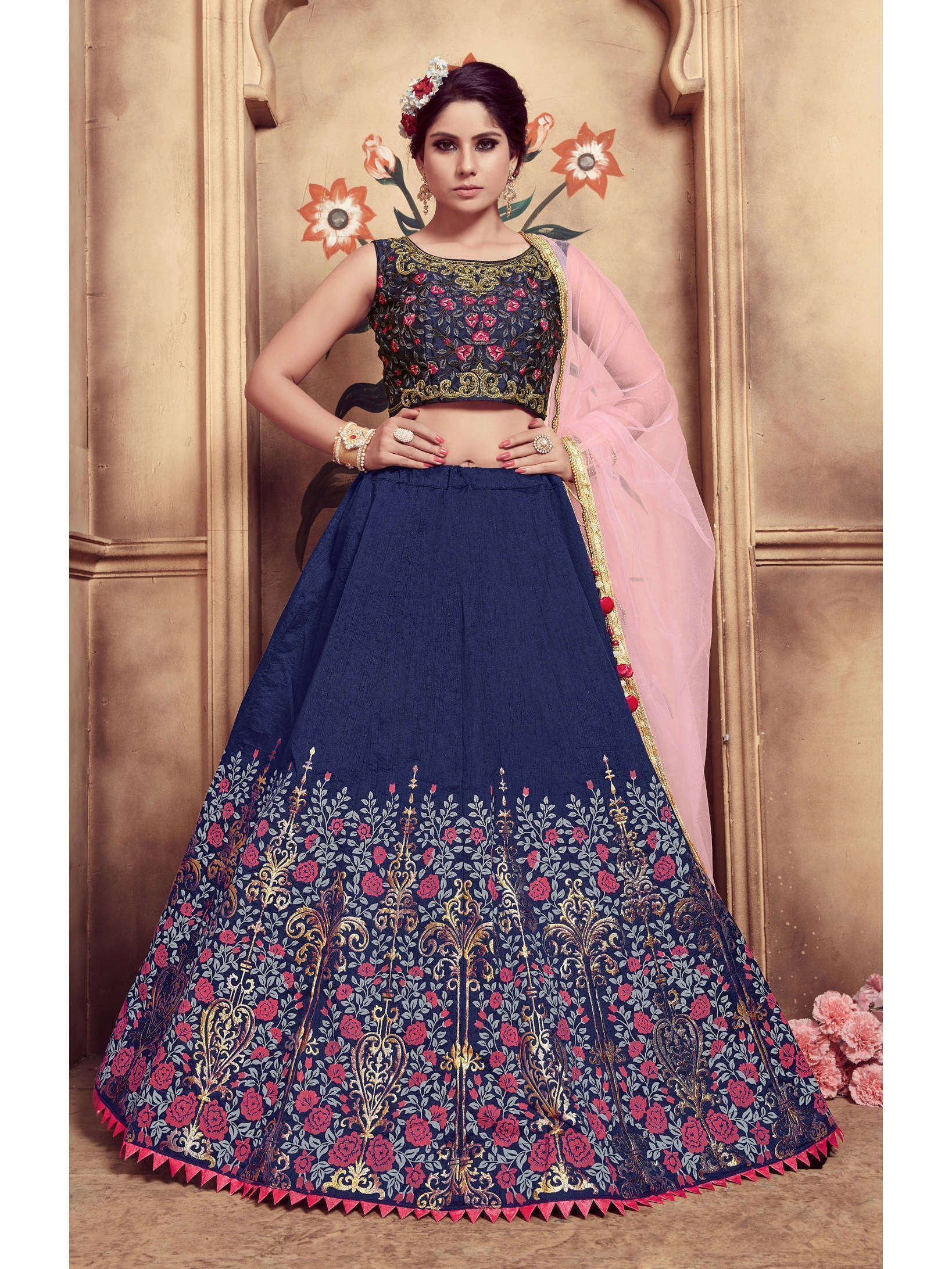 Ravishing Navy Blue Colored Festive Wear Embroidered Lehenga Choli