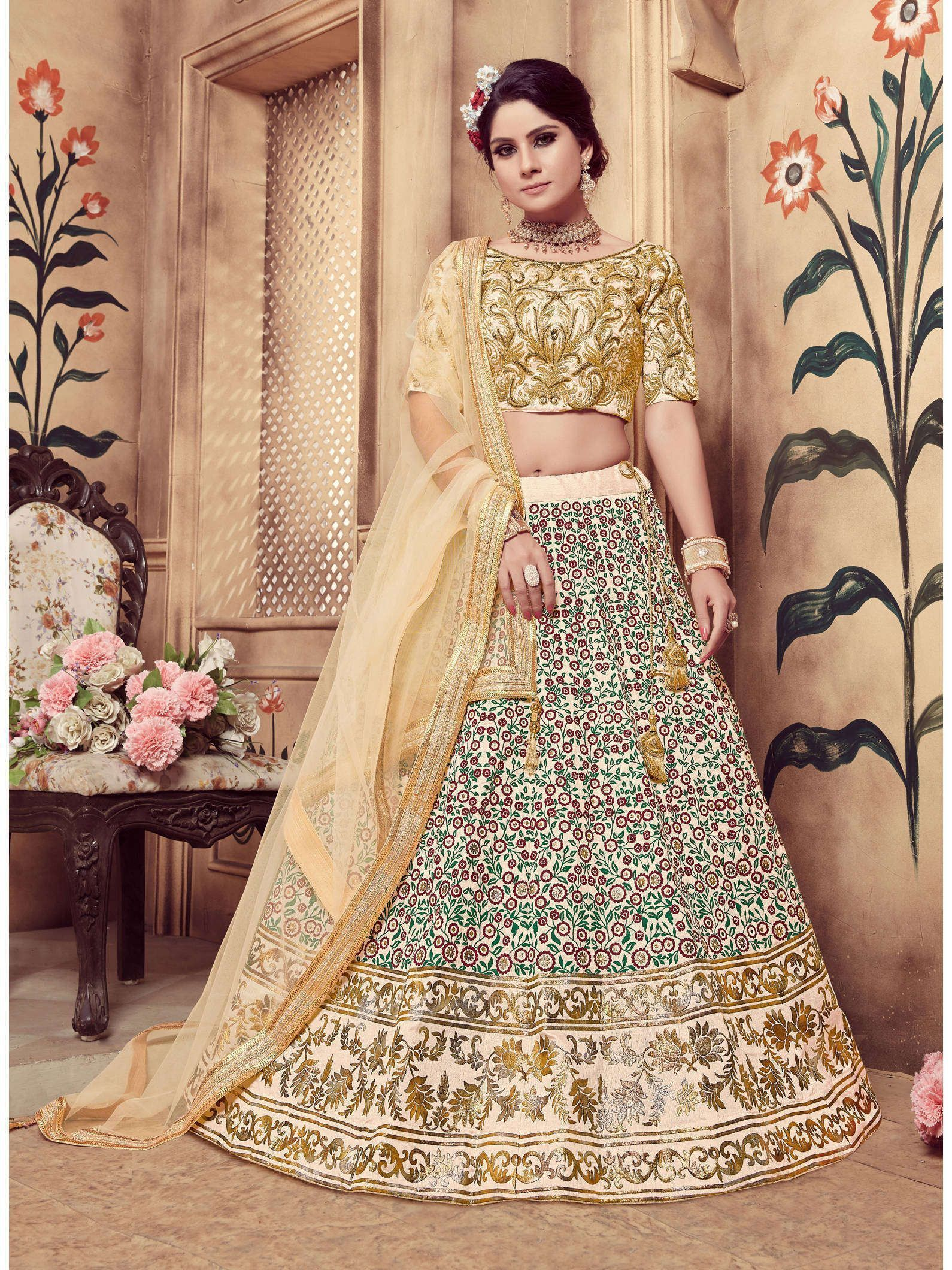 Ravishing Beige Colored Festive Wear Embroidered Lehenga Choli (Default)