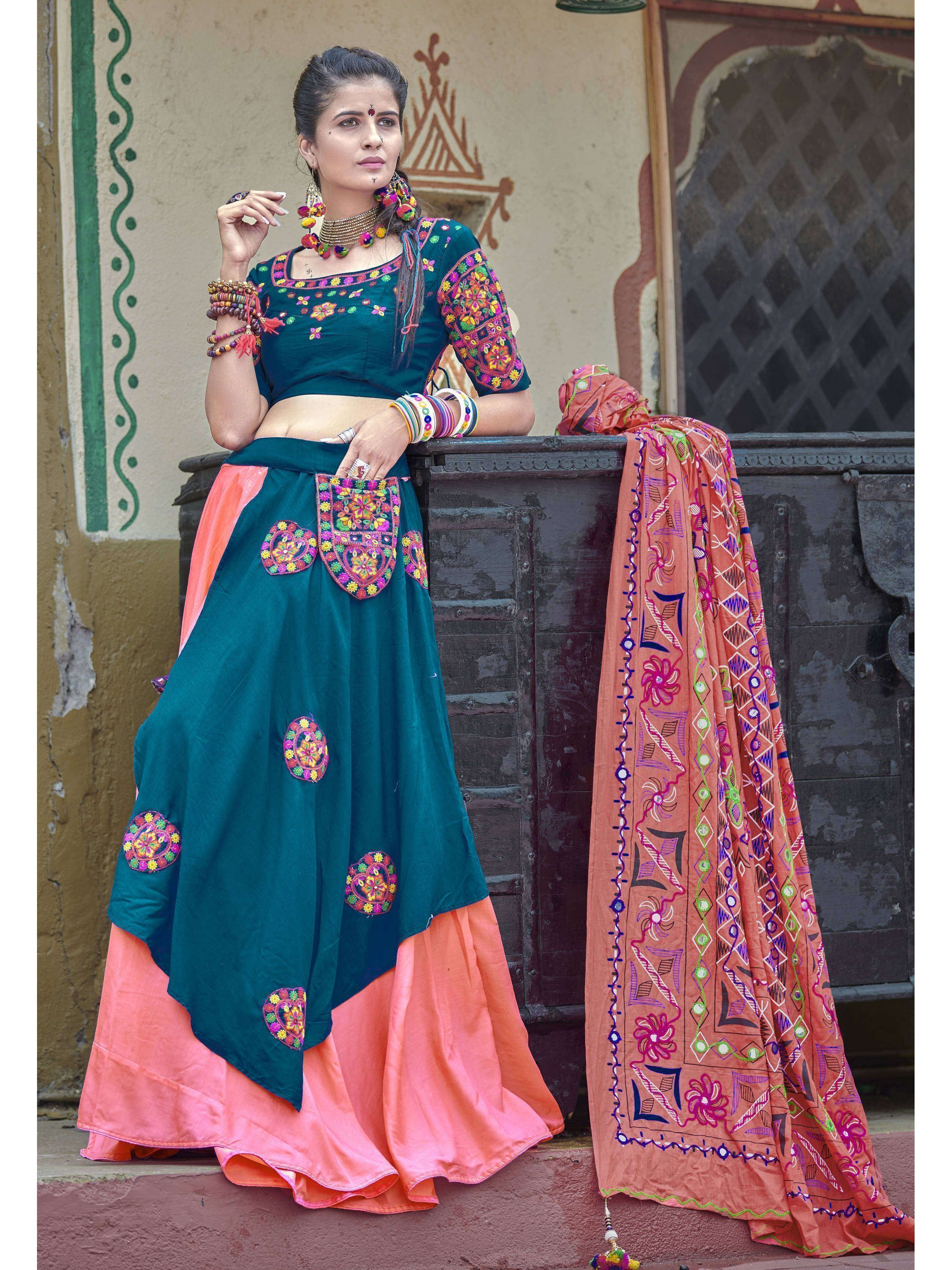 Teal Blue-Pink Color Navratri Special Lehenga Choli (Default)