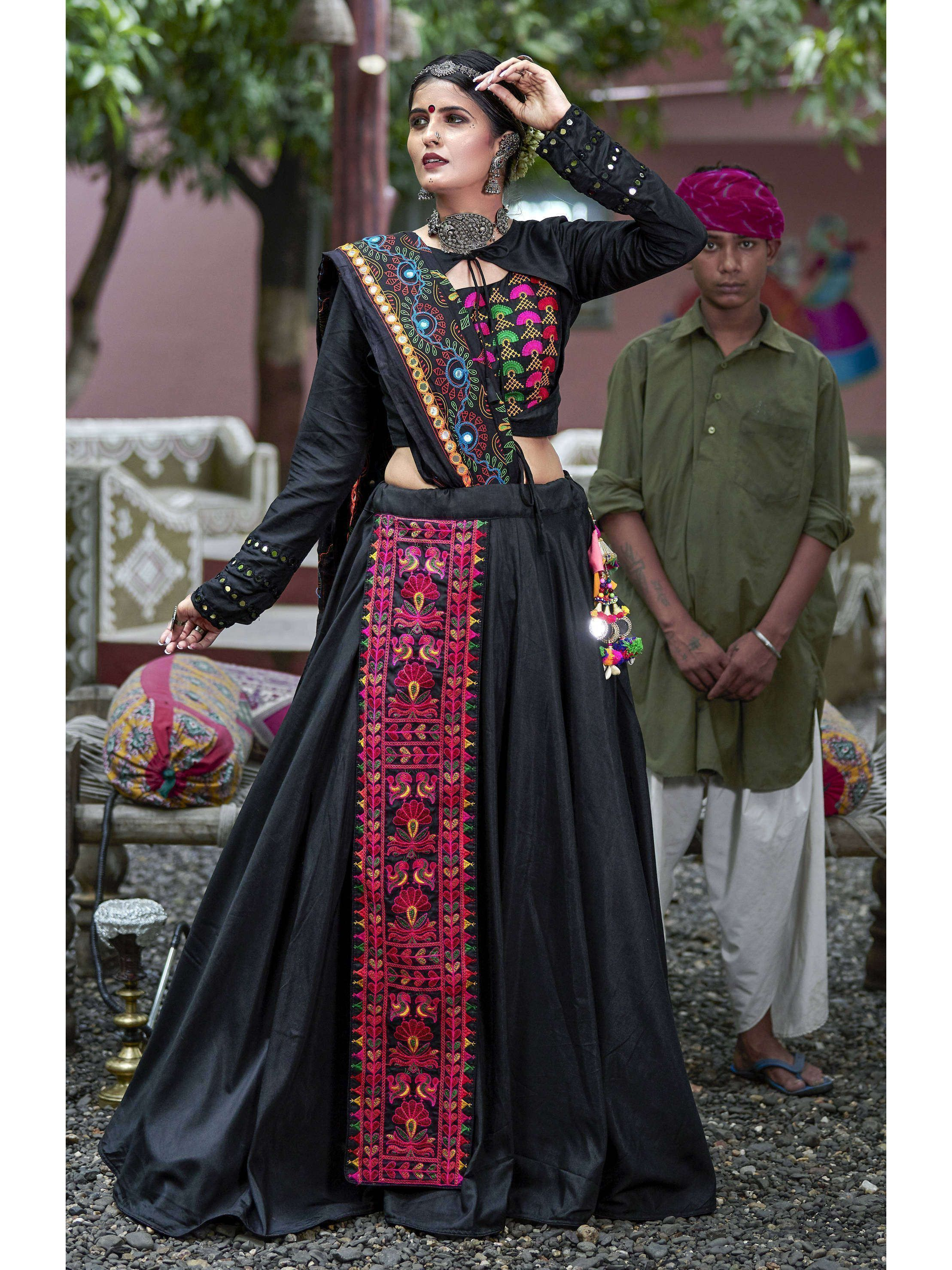 Black Color Embroidered Lehenga Choli For Navratri (Default)
