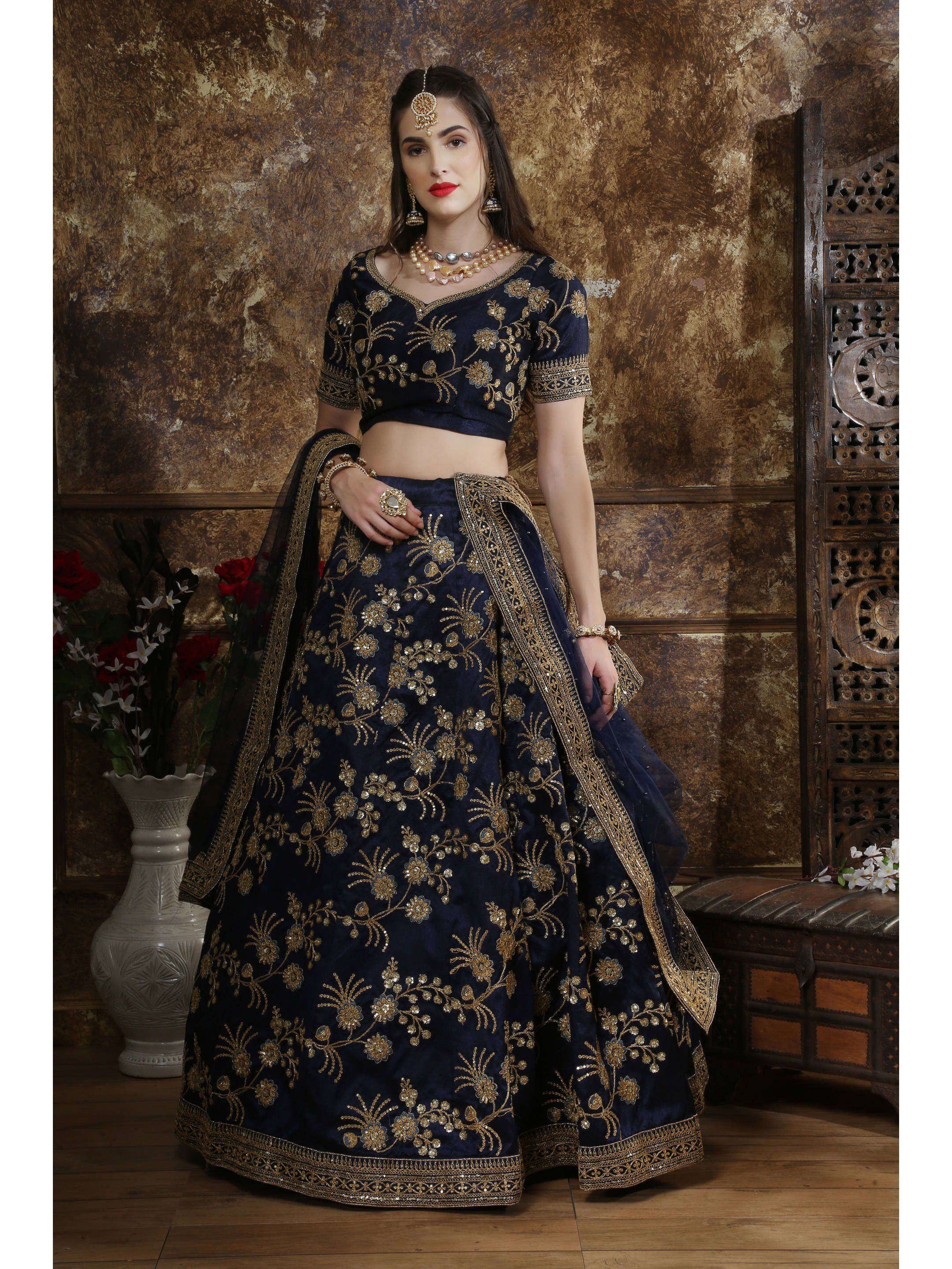 Navy Blue Embroidered Silk Bridal Lehenga Choli