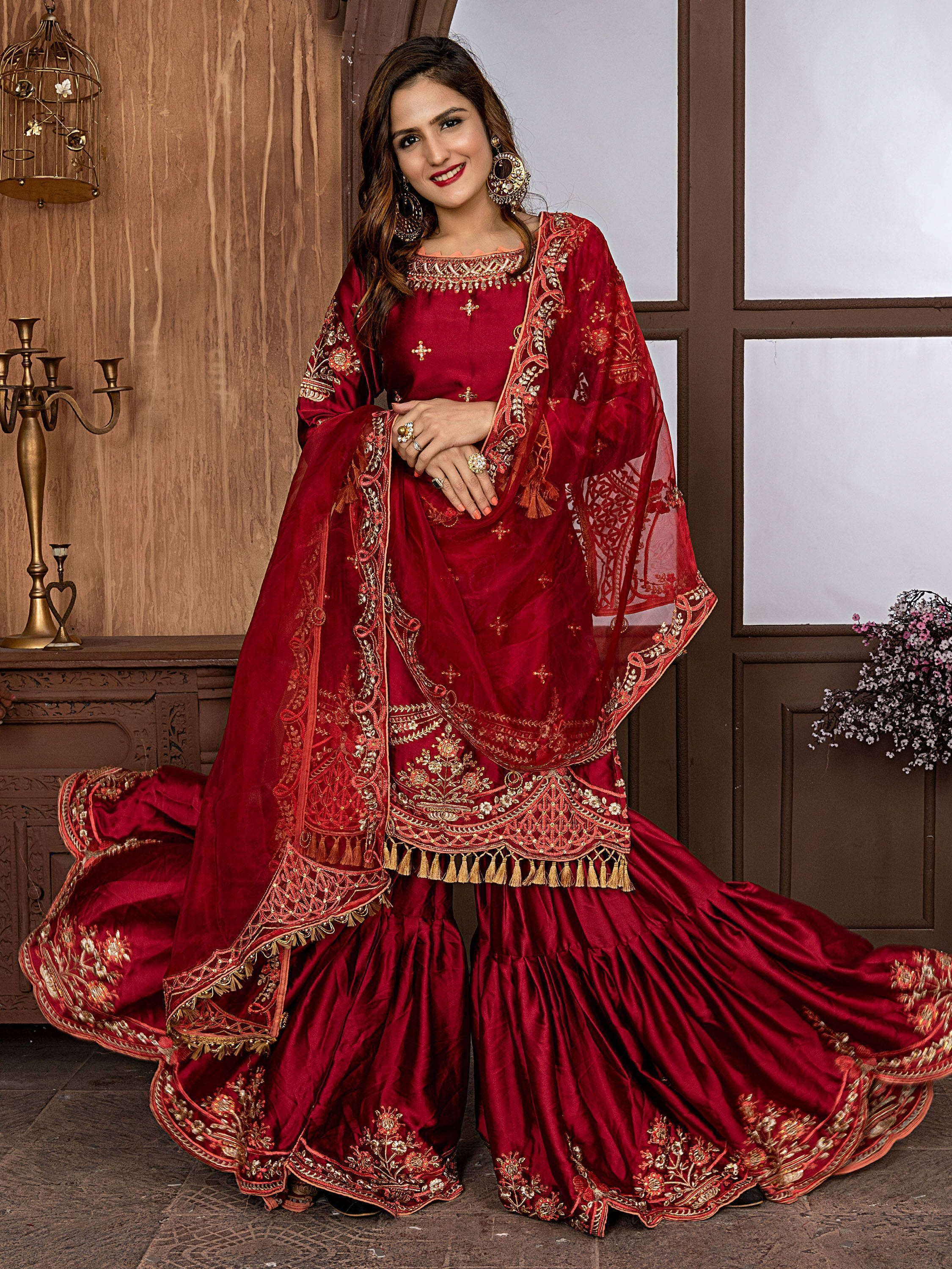 Maroon Satin Embroidered Sharara Suit
