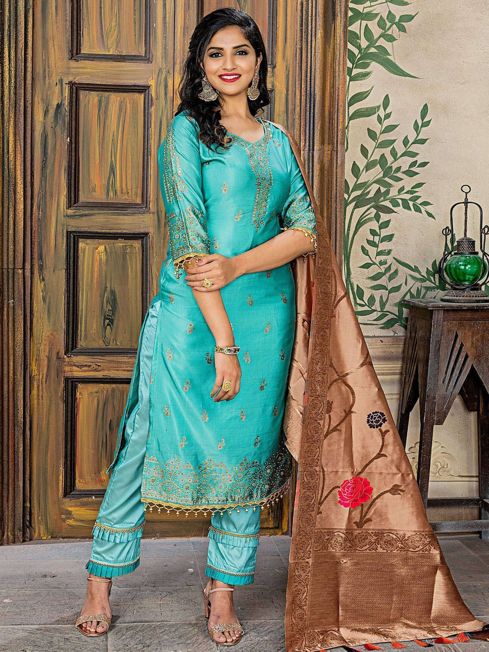 Turquoise Embroidered Banarasi Straight Cut Pant Suit With Dupatta