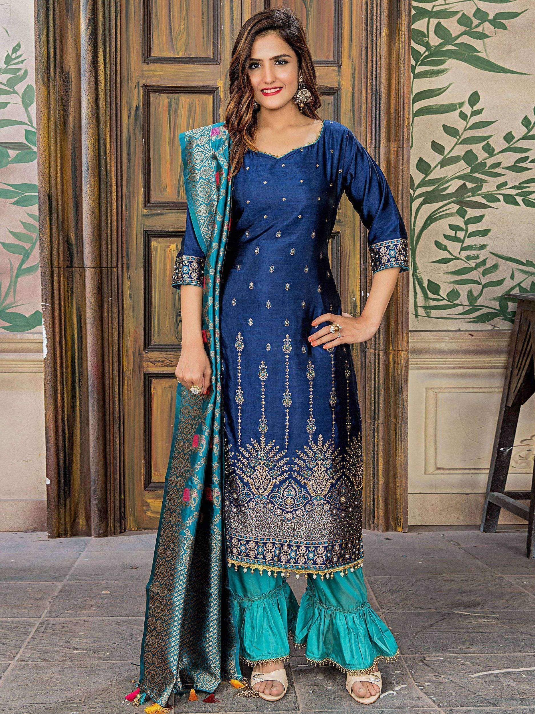 Navy Blue Embroidered Banarasi Straight Cut Pant Suit With Dupattaq