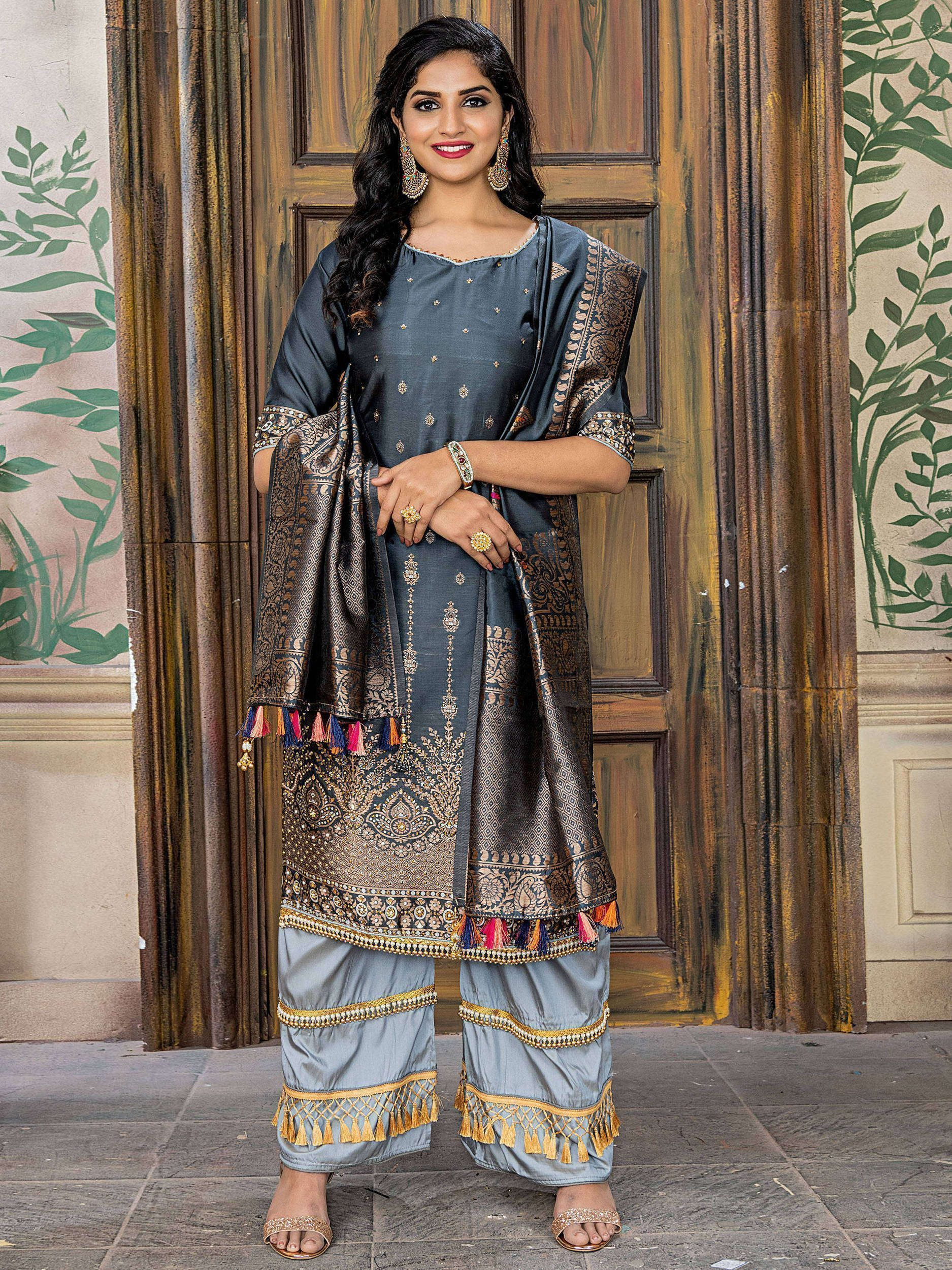 Grey Embroidered Banarasi Straight Cut Pant Suit With Dupatta
