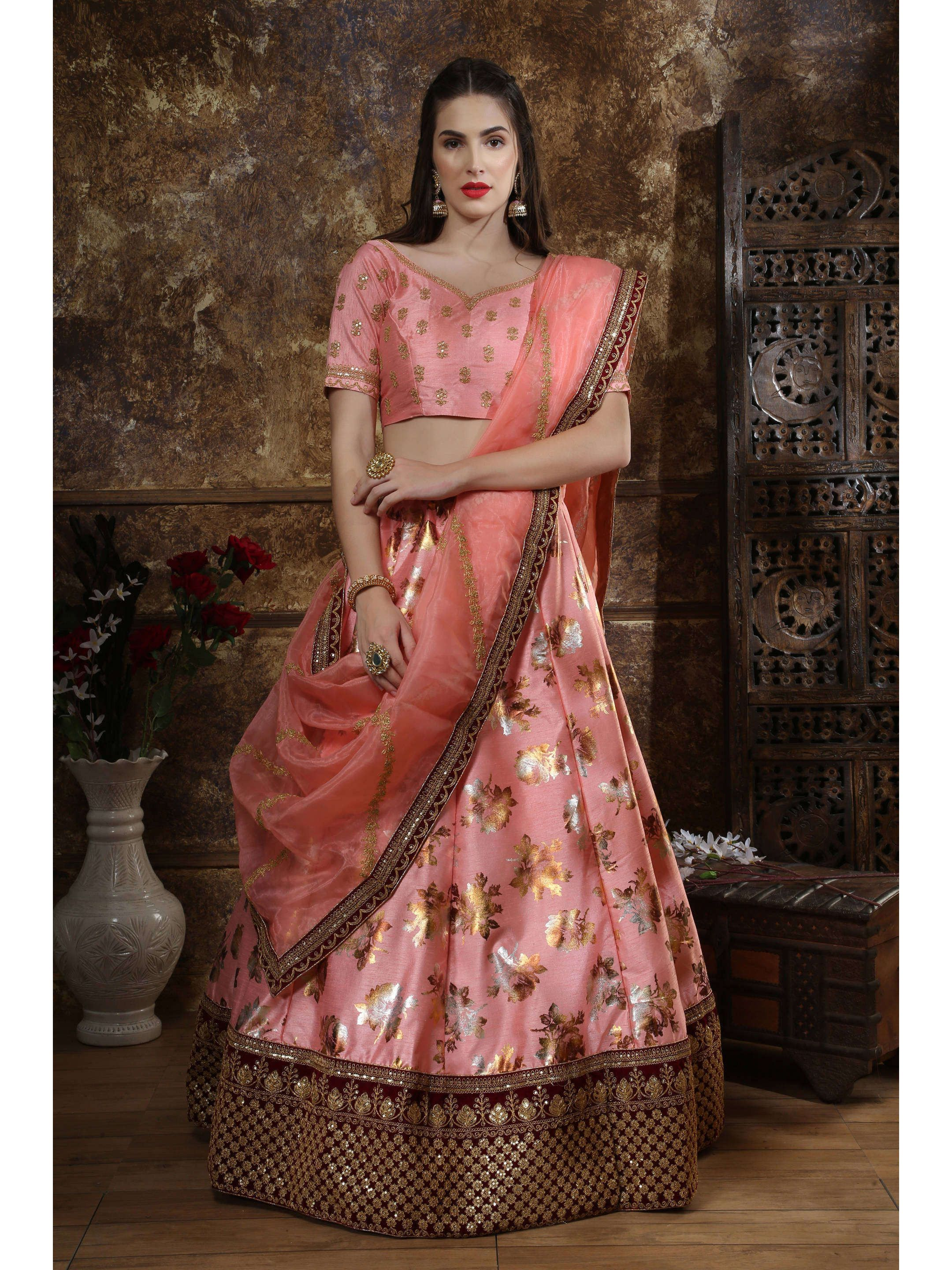 Pink Foil Printed Party Wear Lehenga Choli (Default)