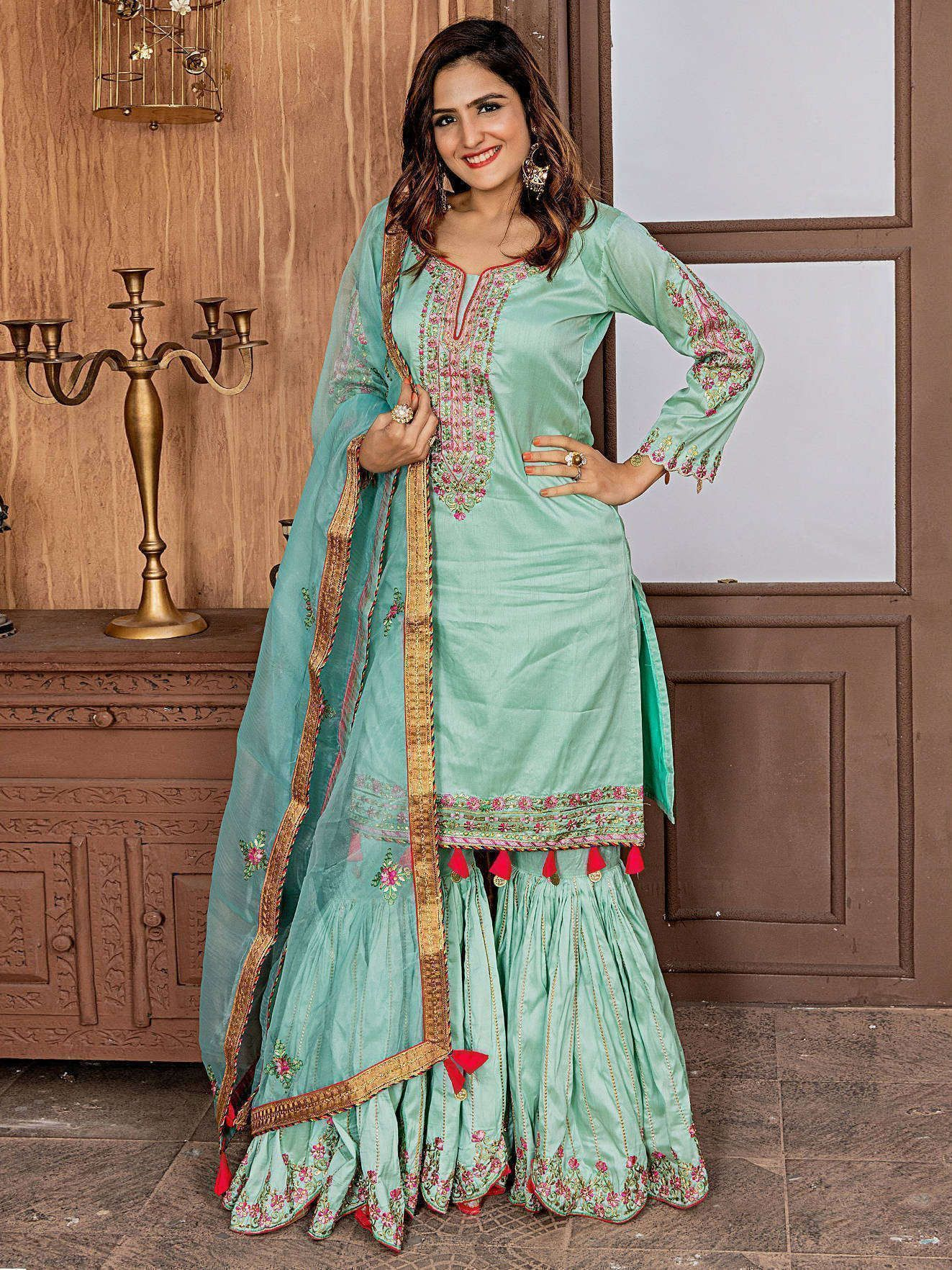 Buy Turquoise Embroidered Satin Designer Gharara Suit