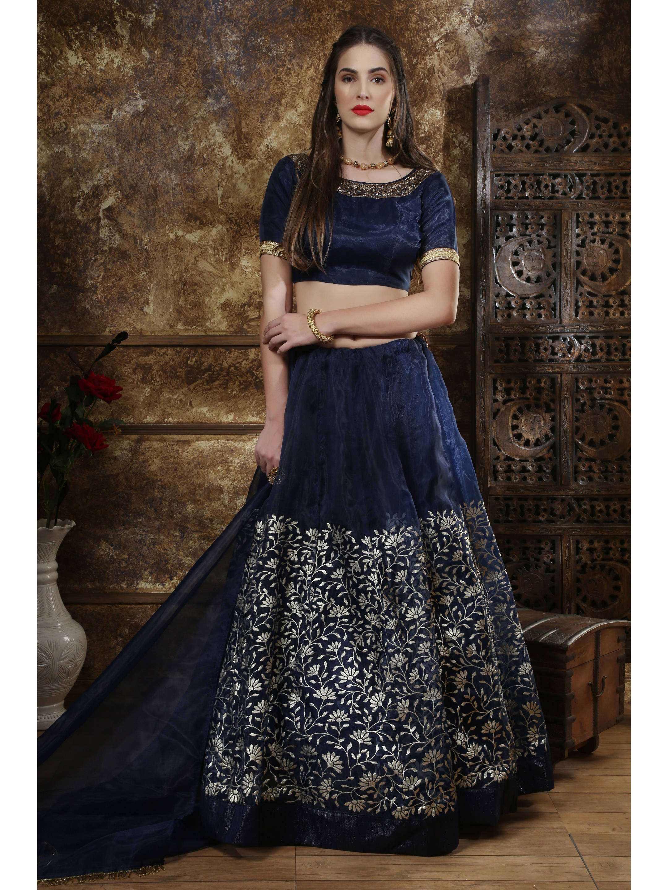Navy Blue Foil Printed Party Wear Lehenga Choli
