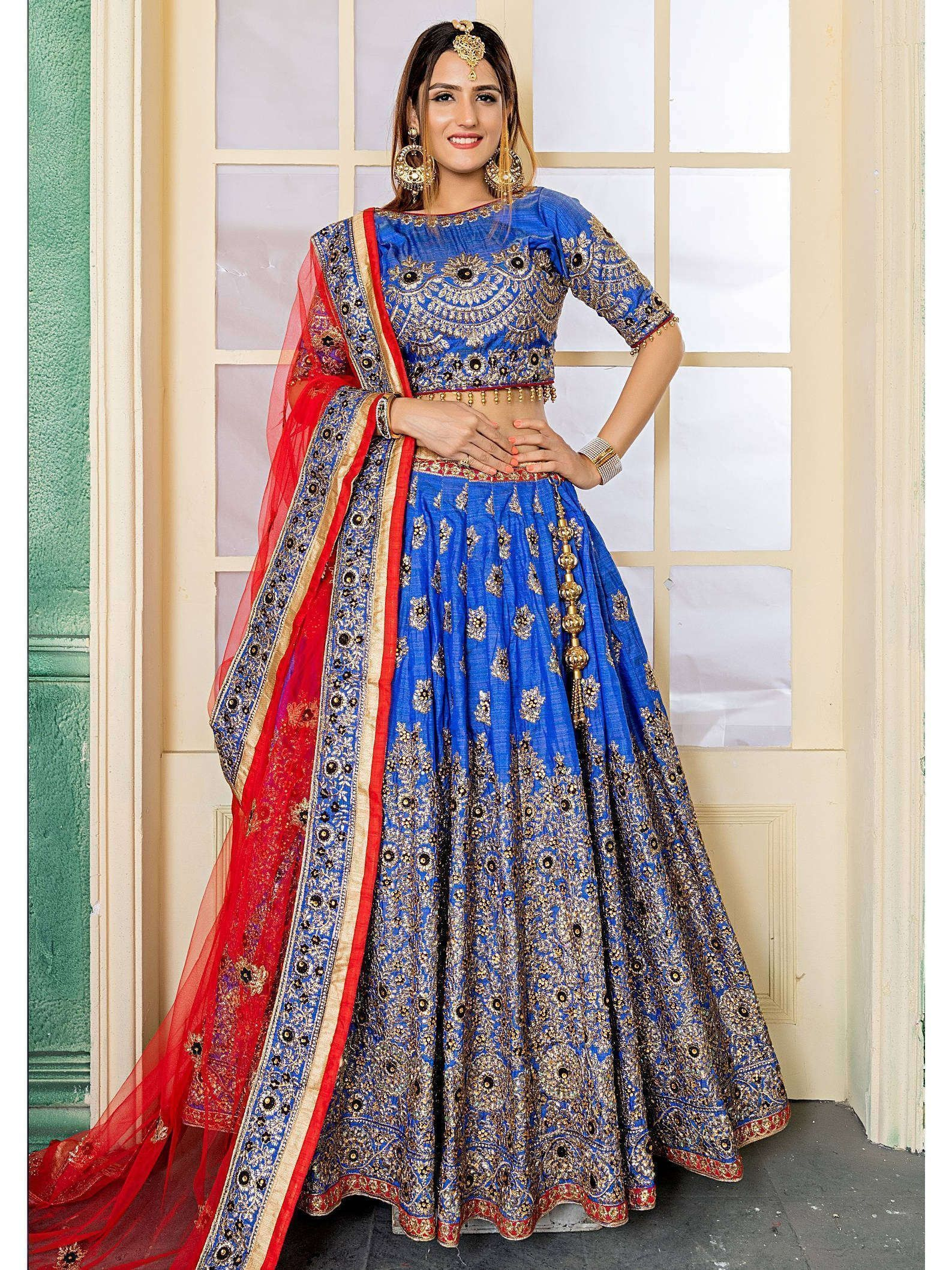 Blue Embroidered Bridal Silk Lehenga Choli