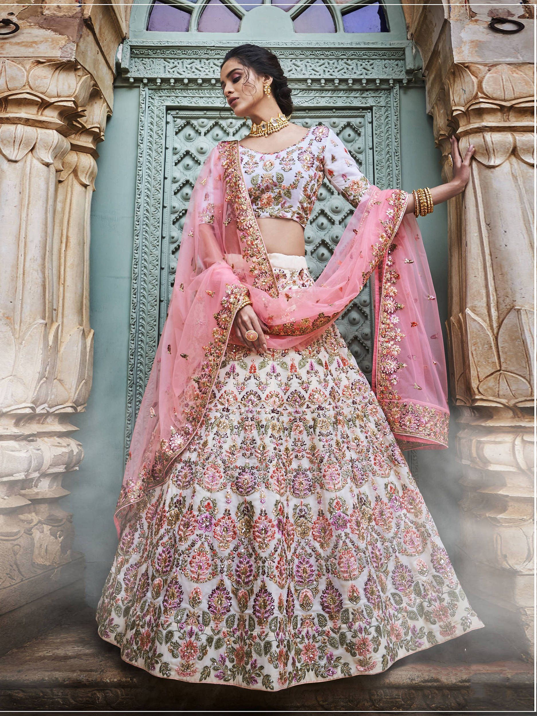 Off White Embroidered Georgette Lehenga Choli With Pink Dupatta