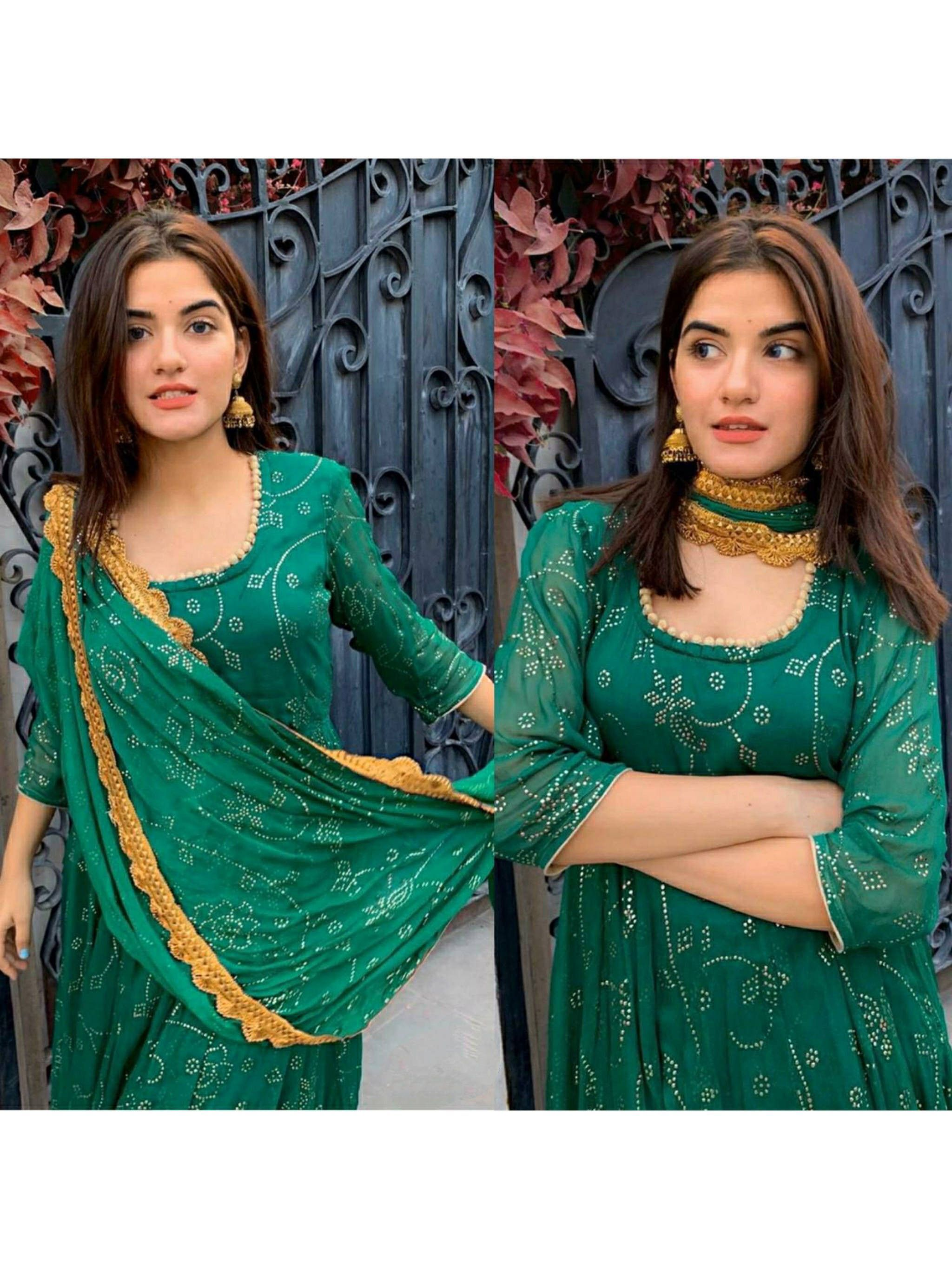 Bottle Green Printed Georgette Party Wear Gown With Dupatta (Default)
