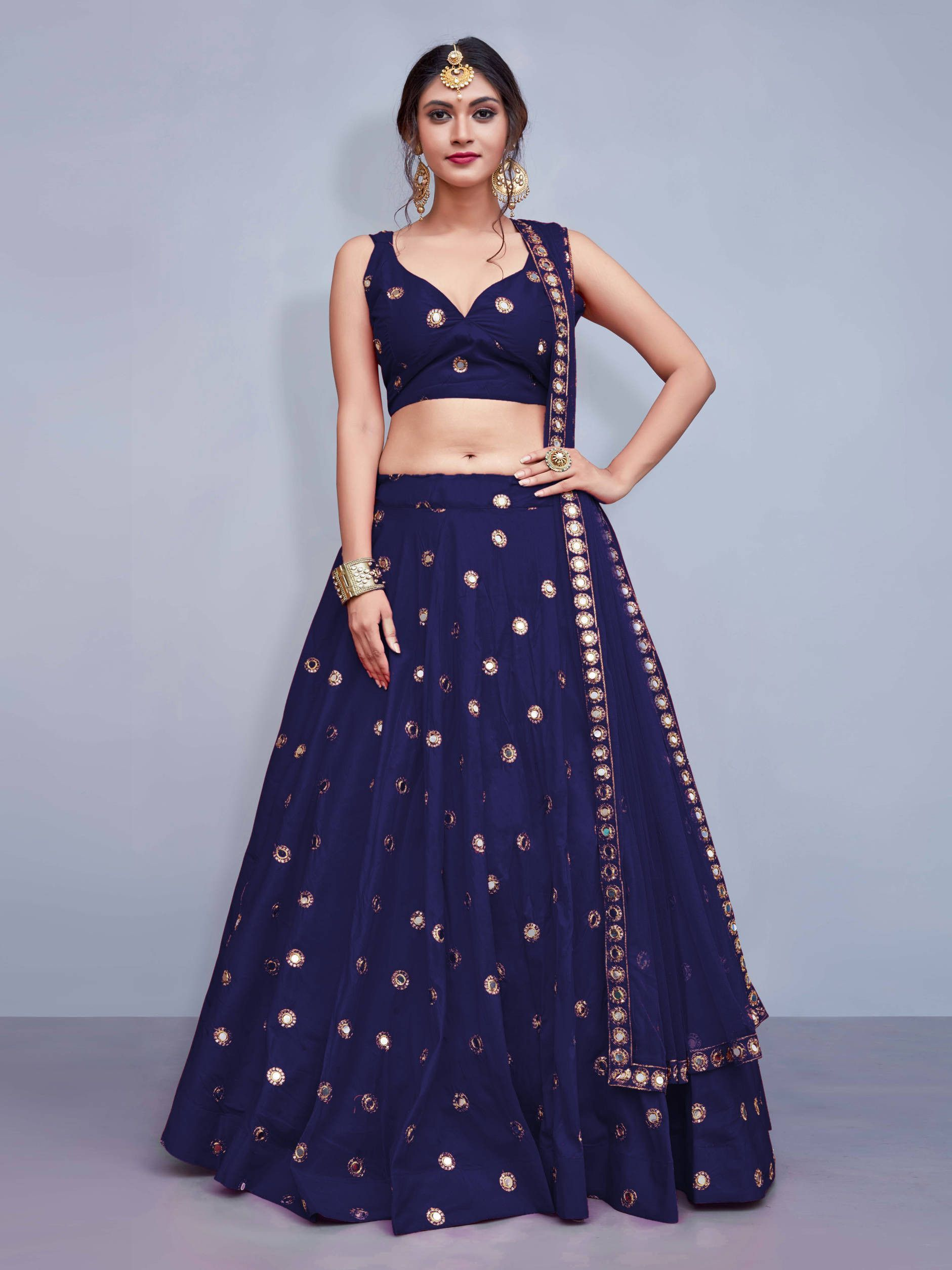 Readymade Navy Blue Mirror Work Taffeta Silk Party Wear Lehenga Choli With Dupatta