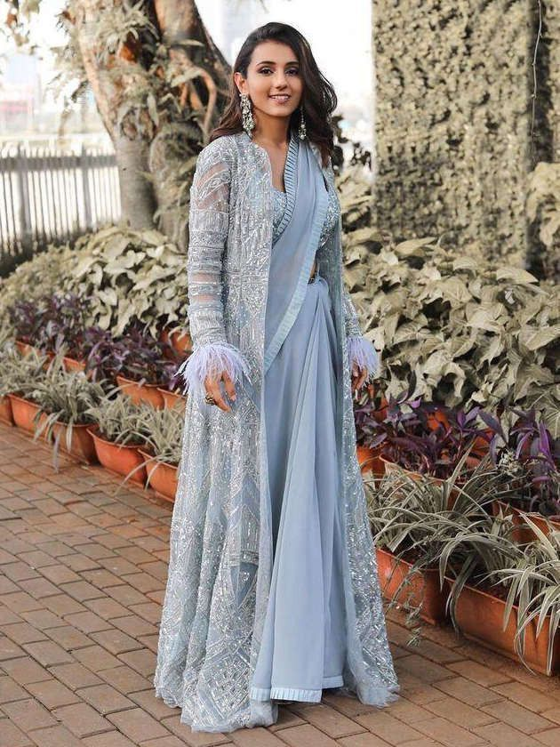 Buy Sky Blue Embroidered Georgette Indo-Western Partywear Saree With Shrug-Un-Stitched  Online from EthnicPlus for ₹2,849.00