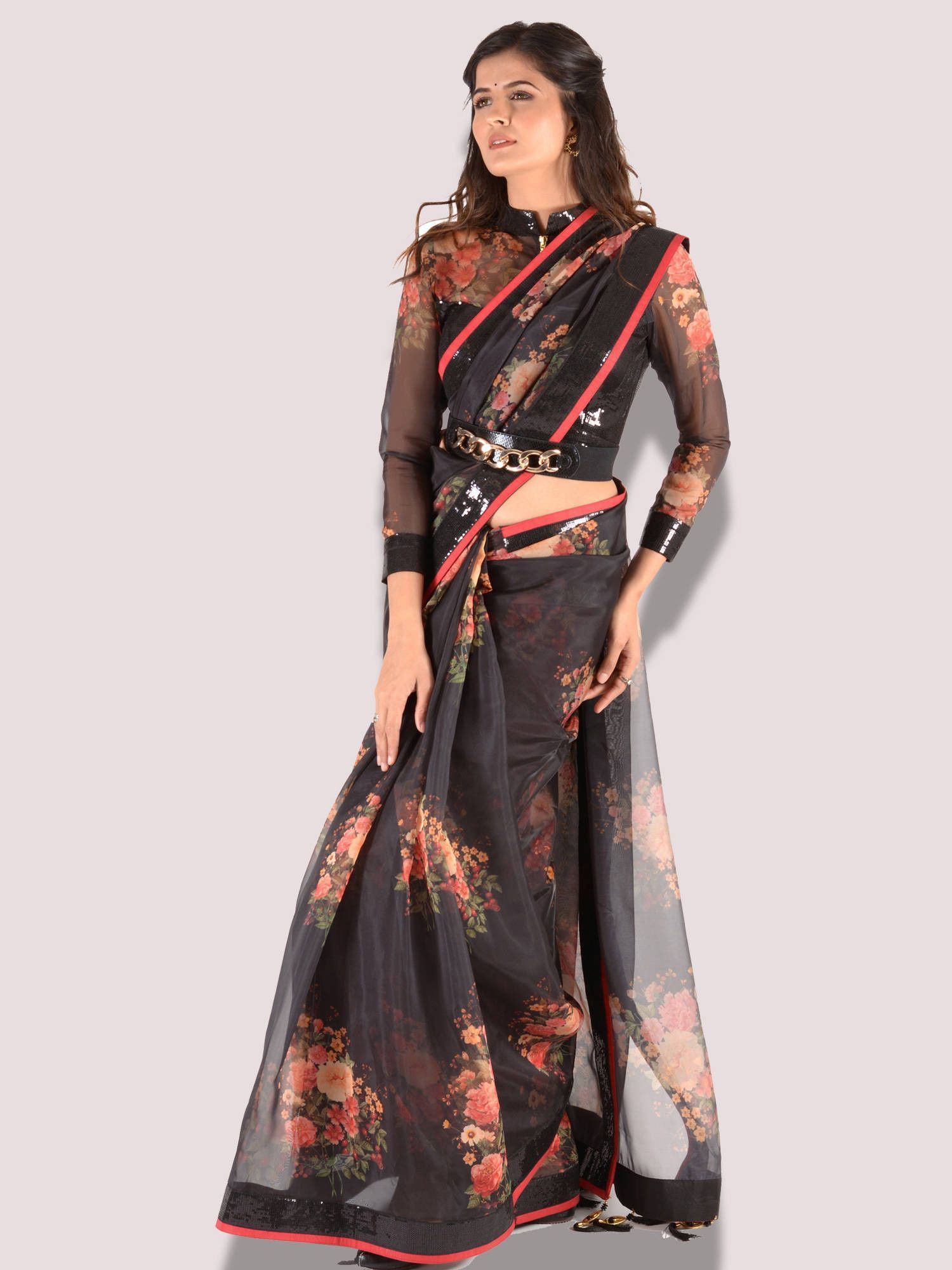 Black Color Printed Organza Saree with sequence blouse