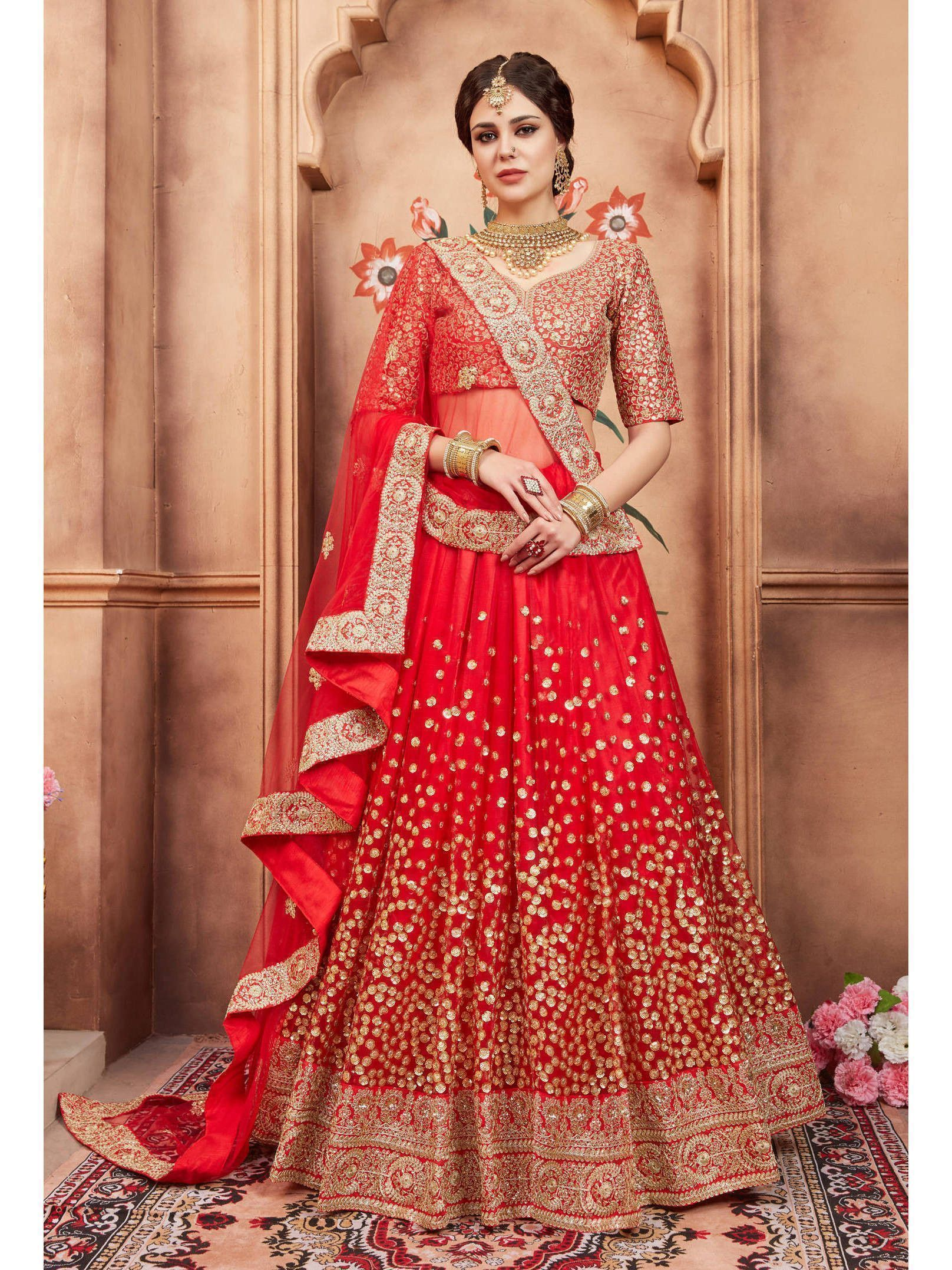 Red Sequins Bridal Lehenga Choli