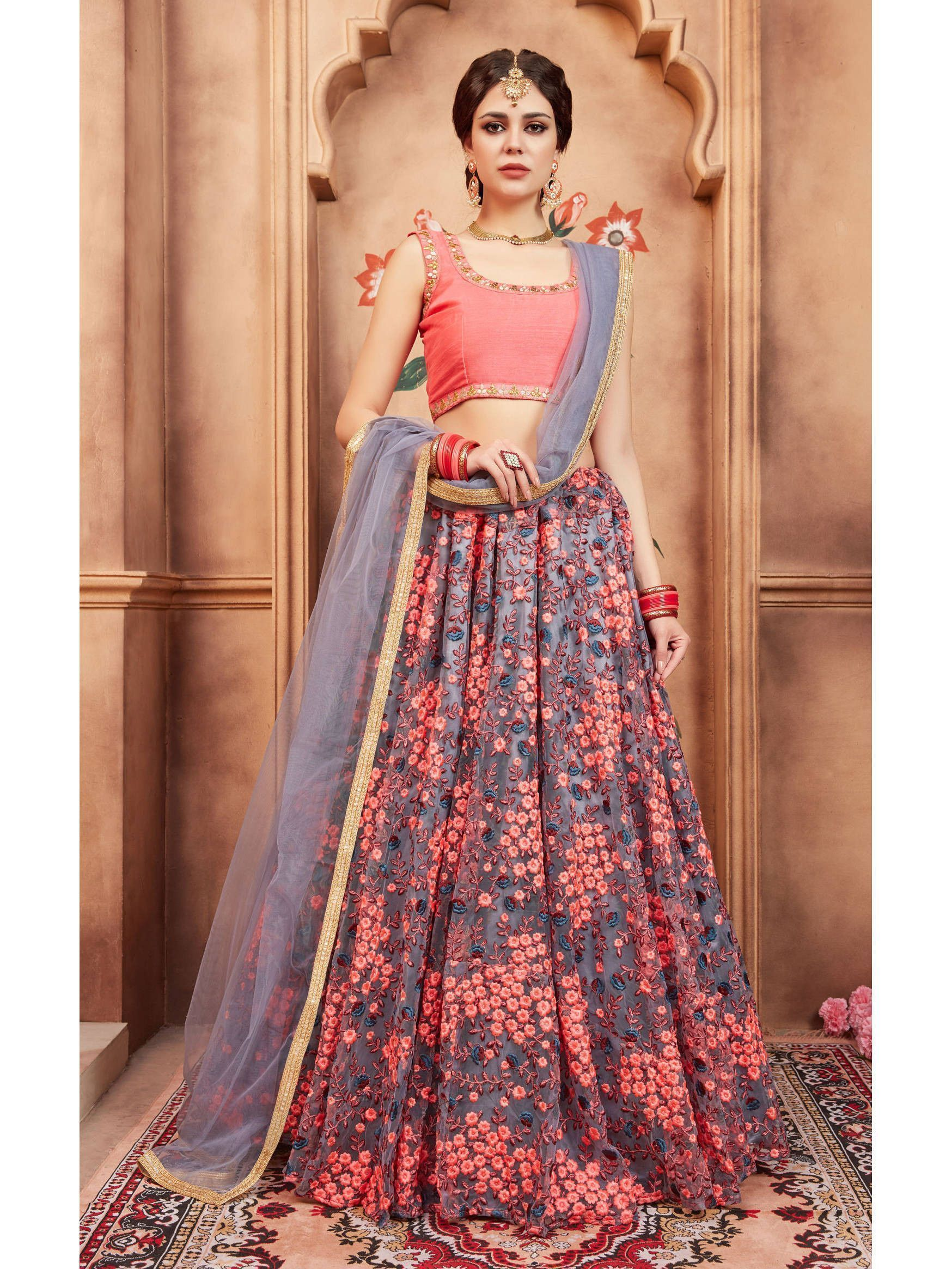 Grey Floral Embroidered Bridal Lehenga Choli