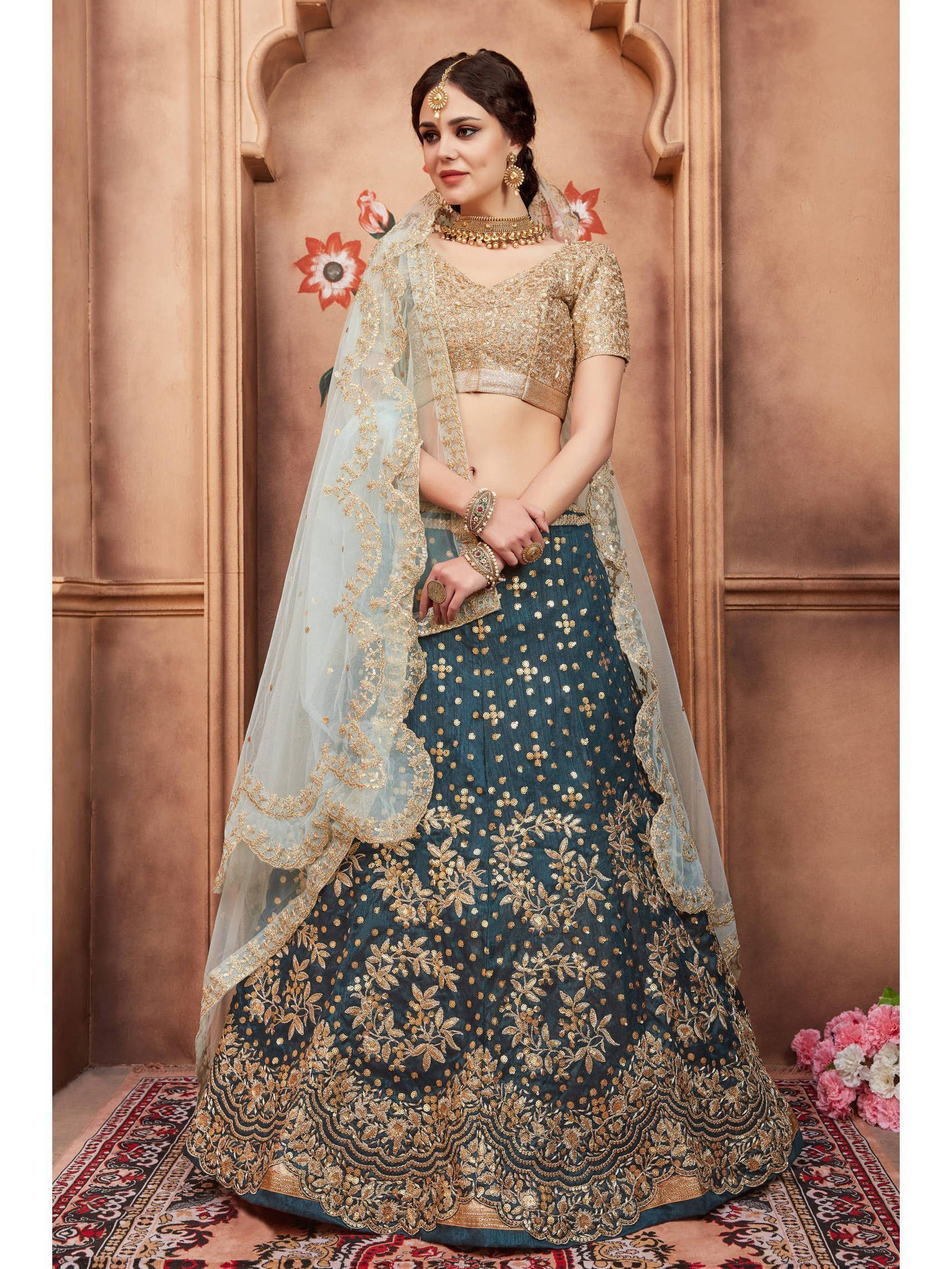 Rama Green sequins Embroidered Bridal Lehenga Choli