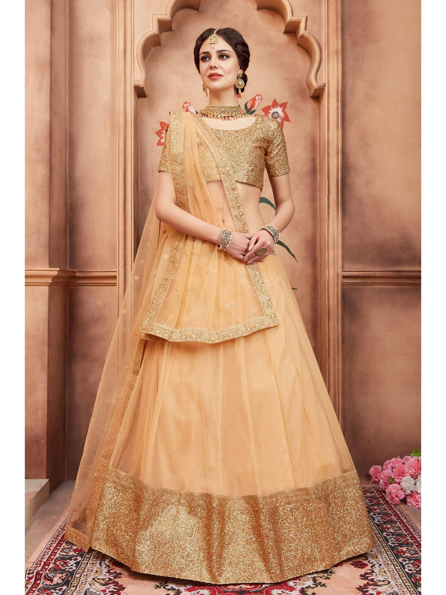 Beige Sequins Border Party Wear Lehenga Choli