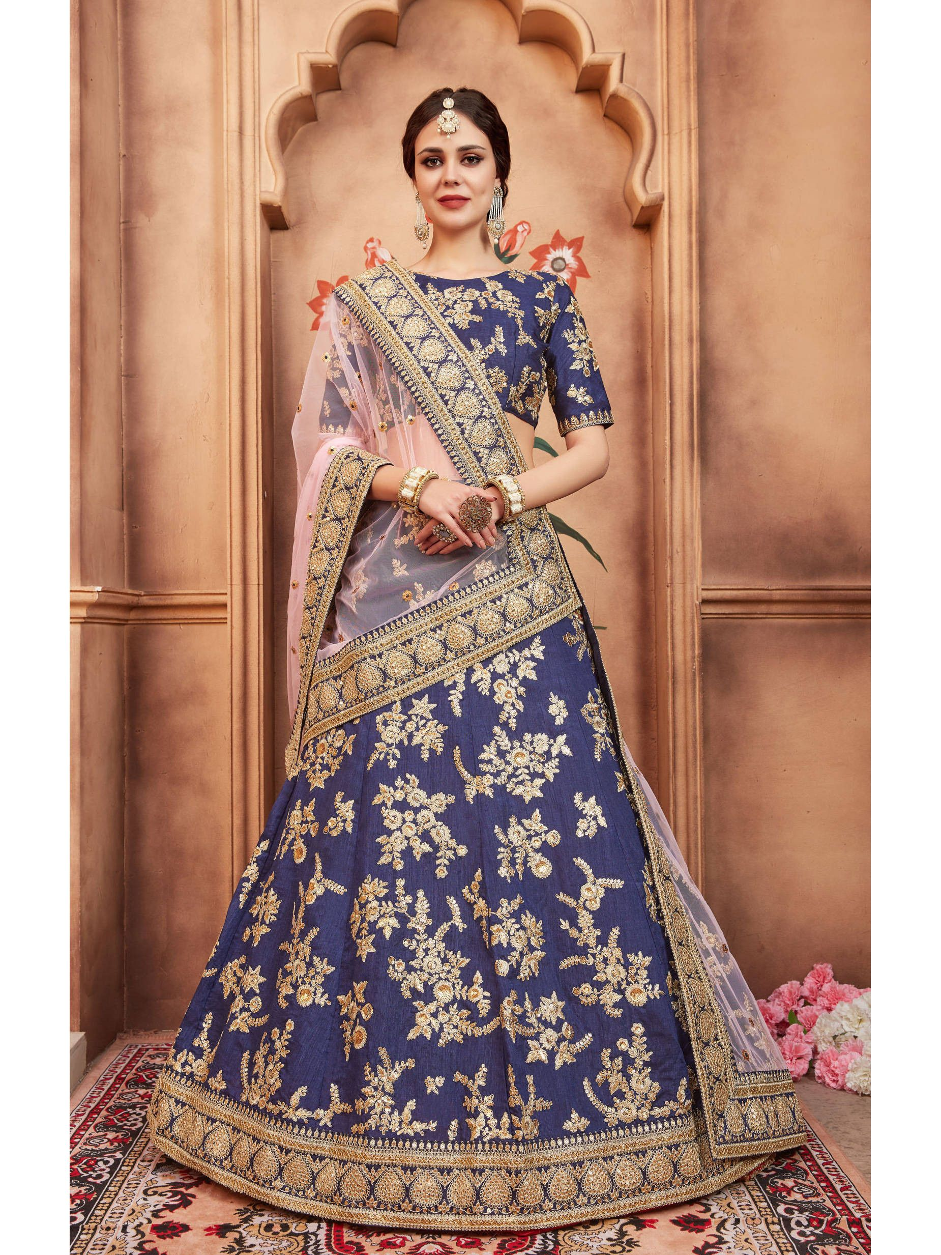 Navy Blue Embroidered Bridal Lehenga Choli