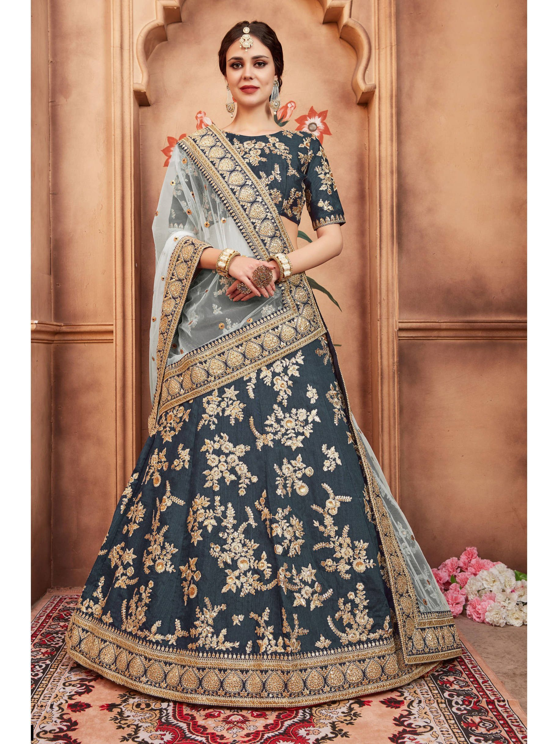Rama Green Embroidered Bridal Lehenga Choli