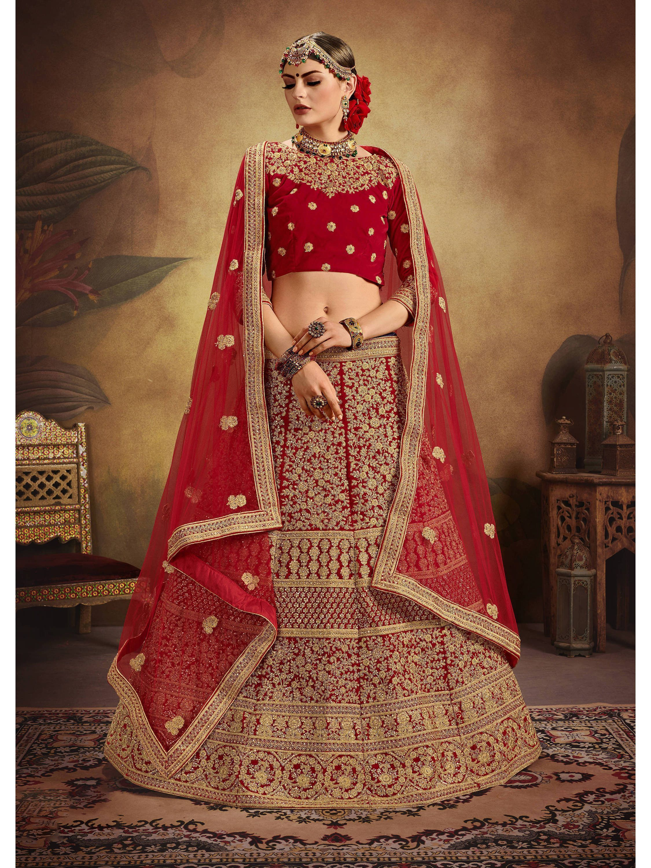 Buy Red Sequins Embroidered Velvet Bridal Lehenga Choli With Dupatta Online From Ethnicplus For 11 849 00