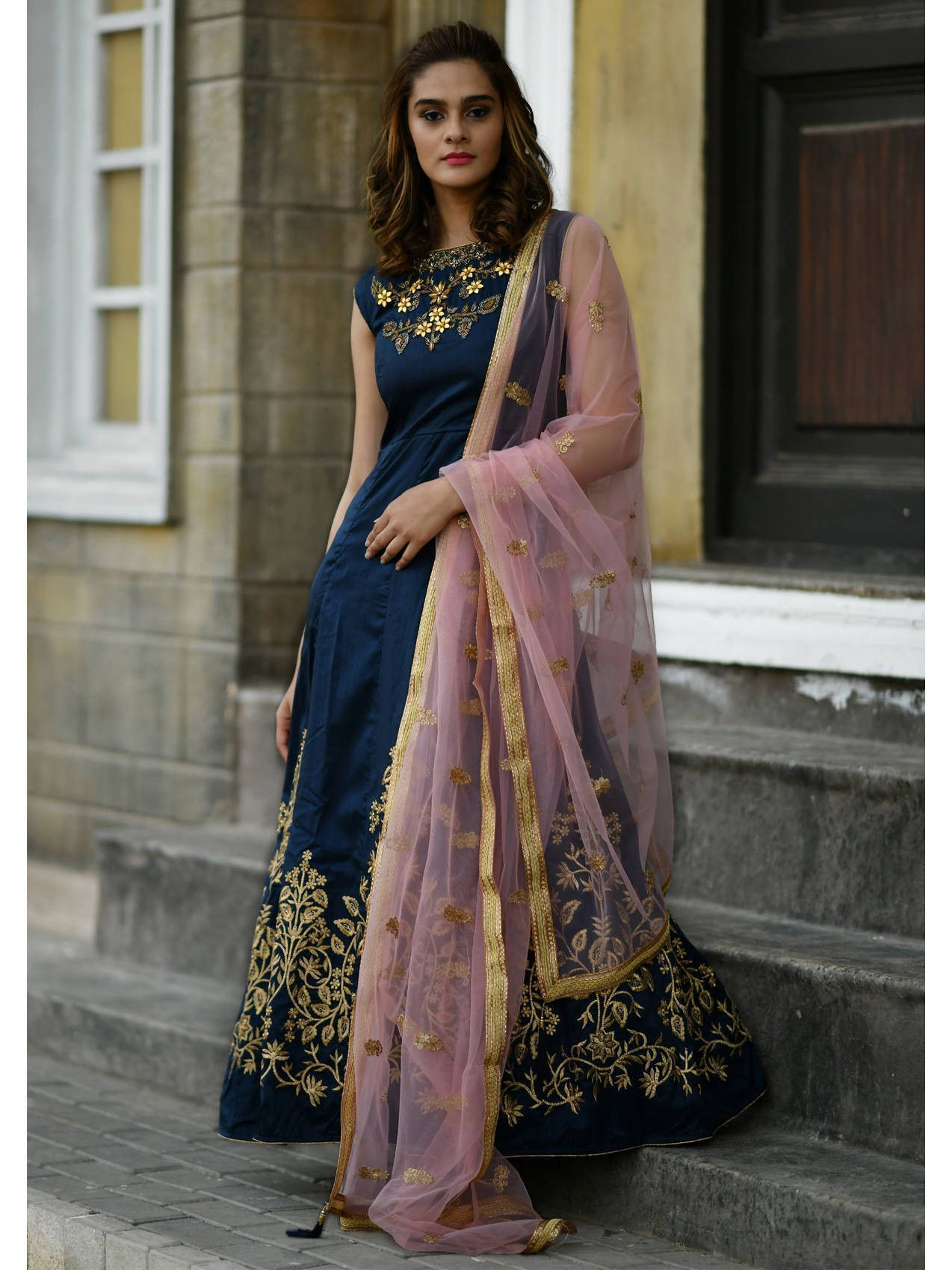 Navy Blue Embroidered Silk Gown With Dupatta