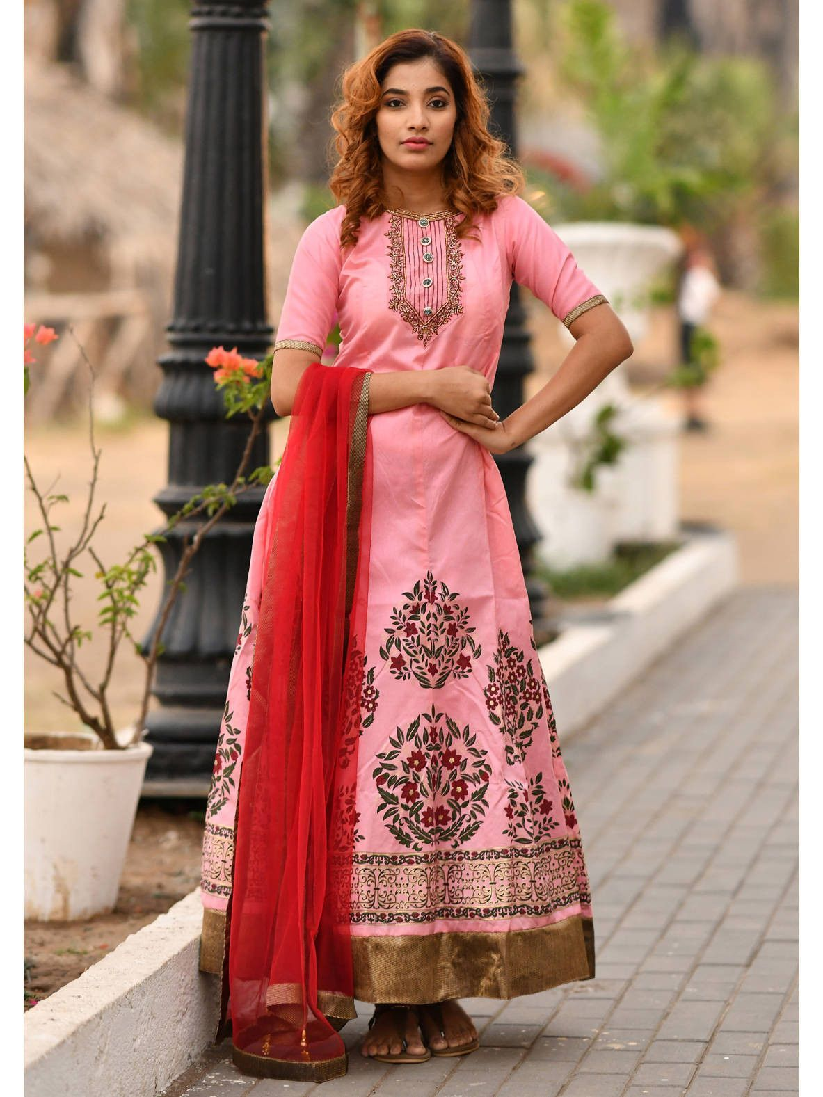 Readymade Baby Pink Foil Print Silk Party Wear Gown