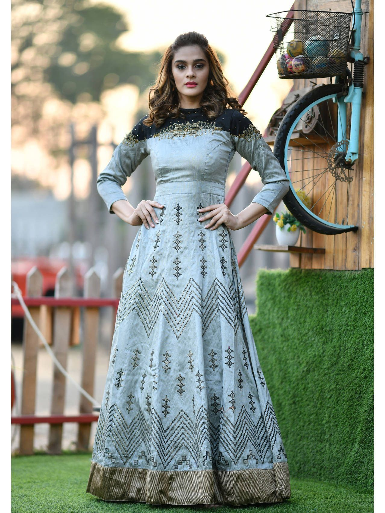 Readymade Grey Foil Print Silk Party Wear Gown