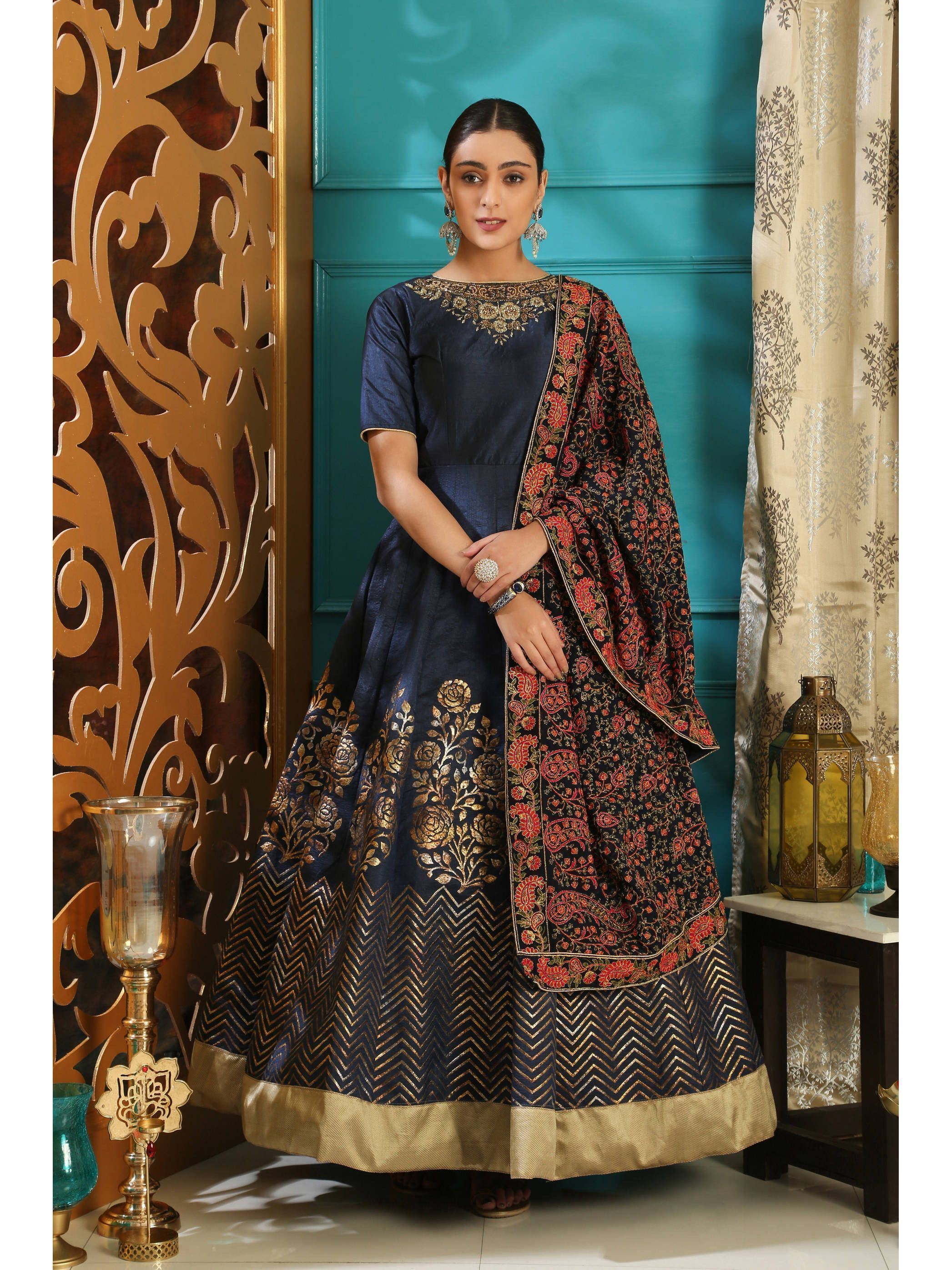 Readymade Navy Blue Foil Print Gown With Dupatta (Default)