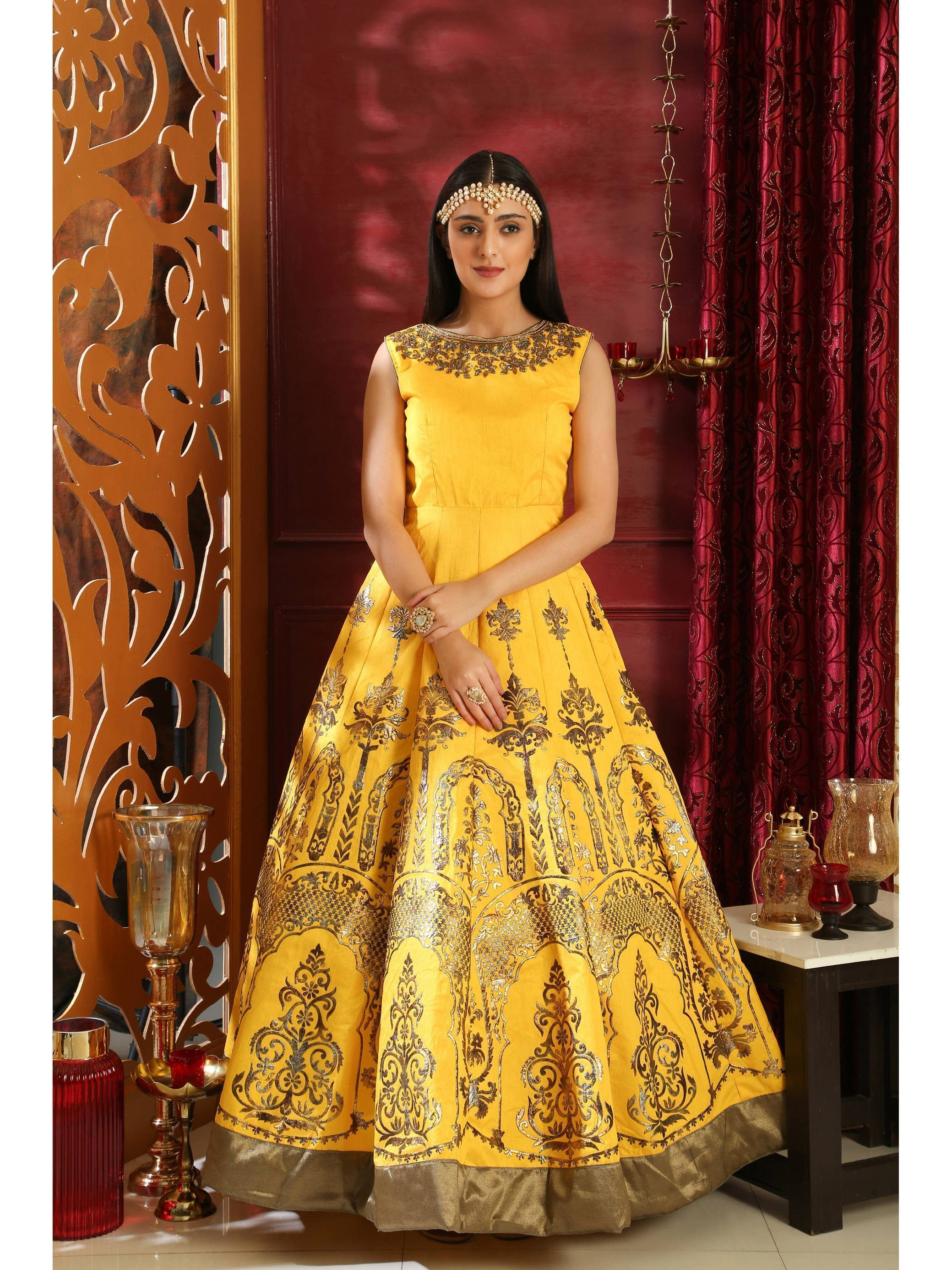 Readymade Yellow Silk Foil Print Gown (Default)