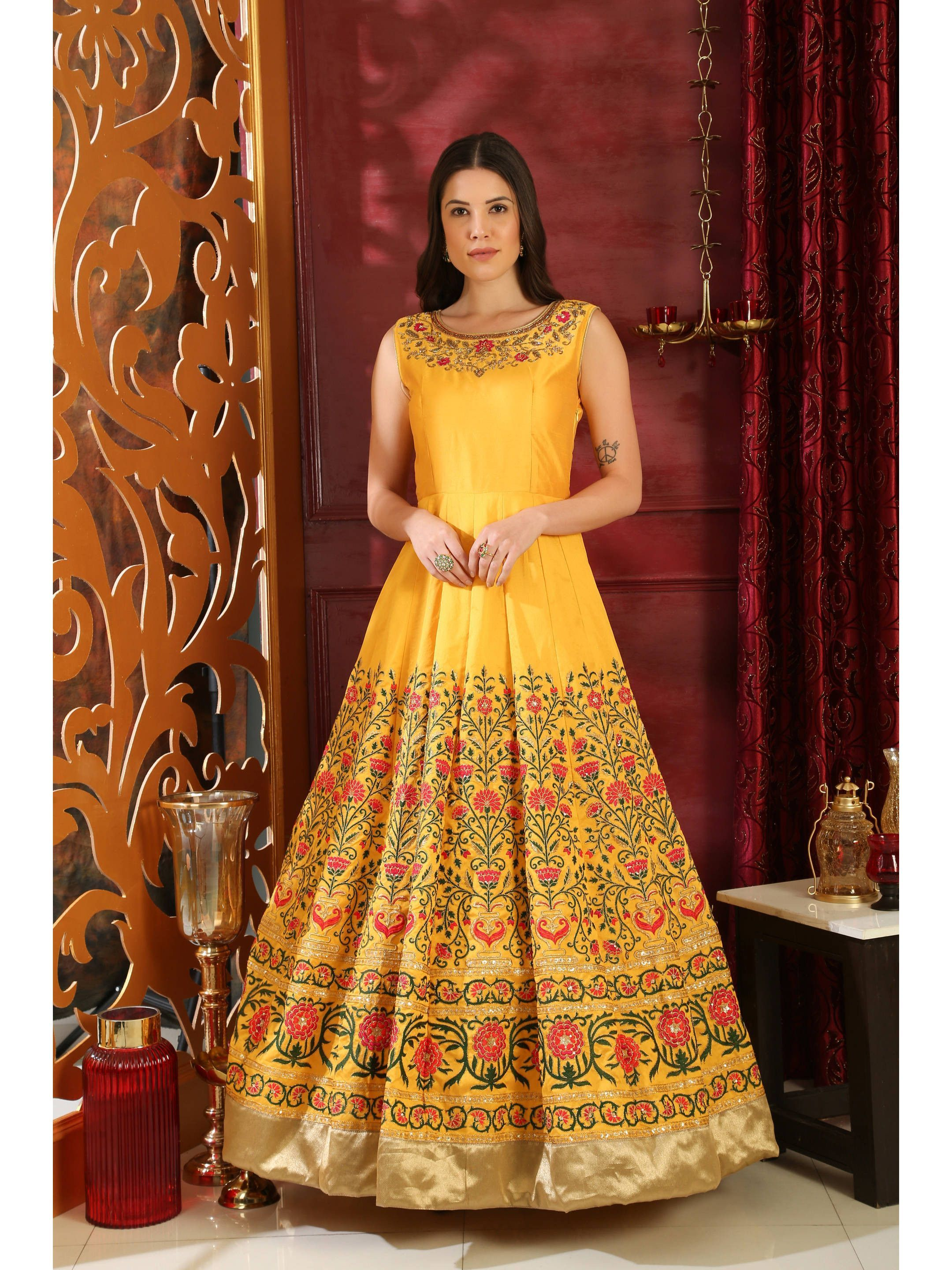 Yellow Silk Embroidered Party Wear Gown