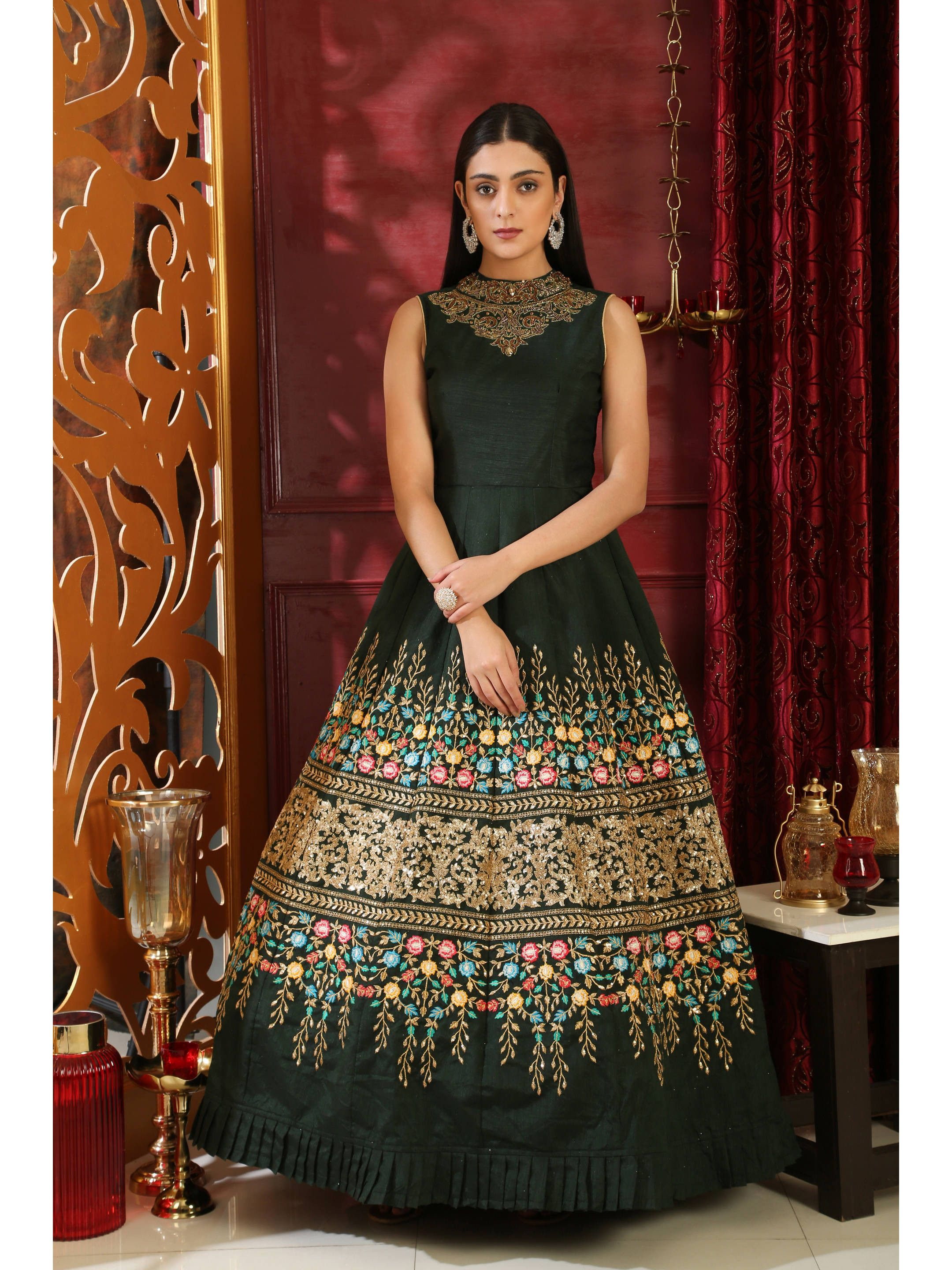 Bottle Green Silk Embroidered Party Wear Gown
