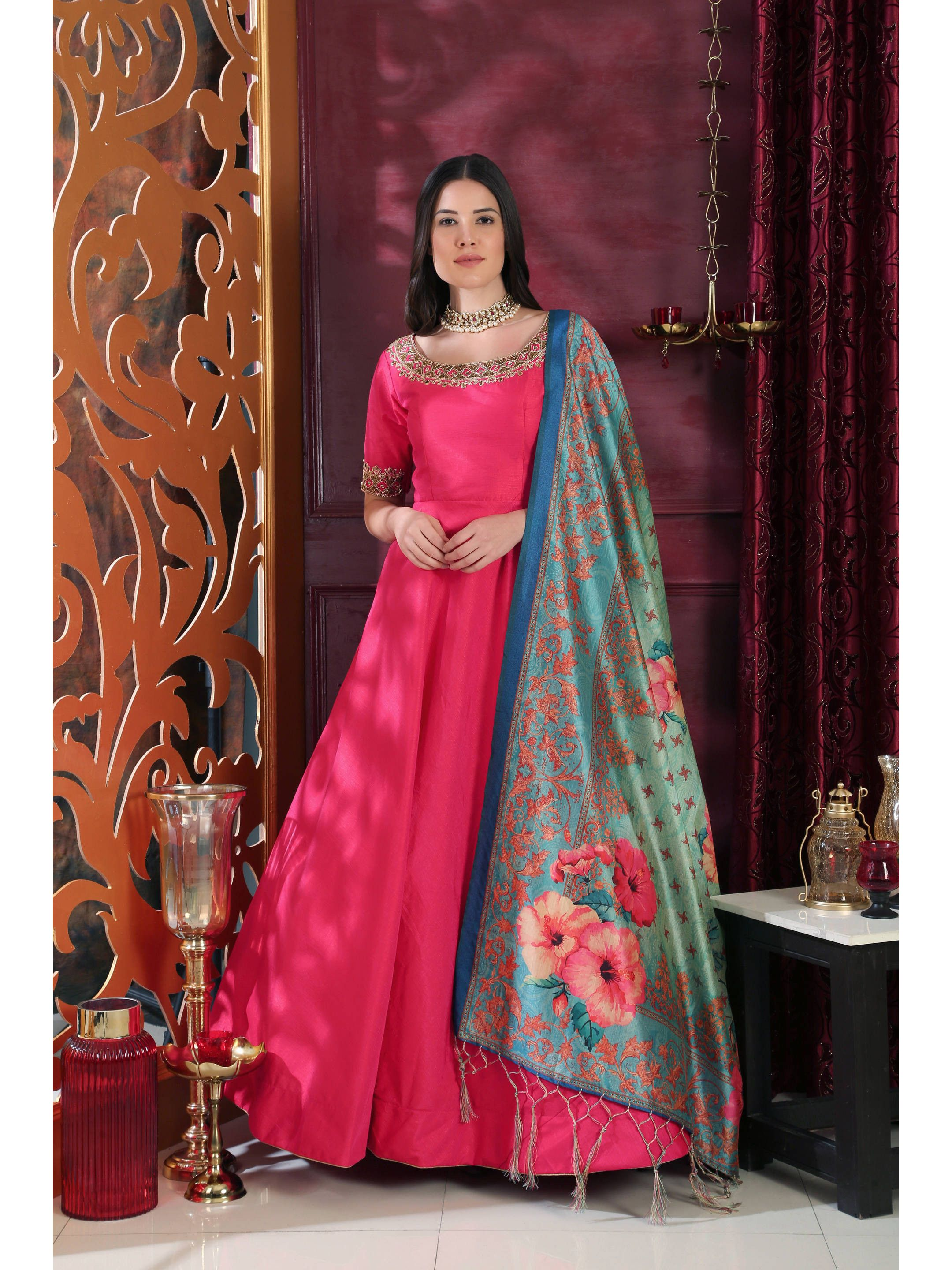 Hot Pink Embroidered Gown With Dupatta