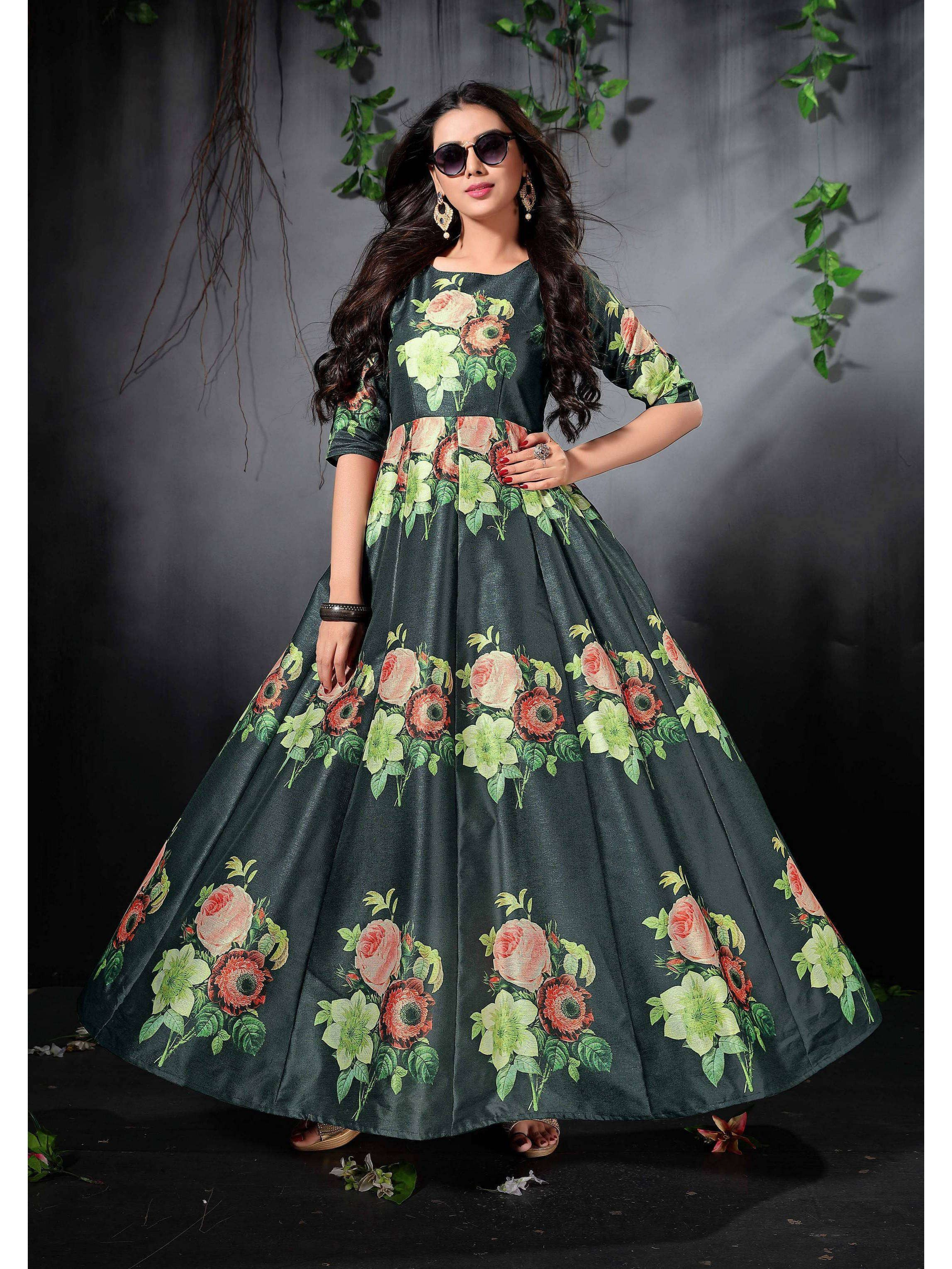 Bottle Green Floral Printed Readymade Gown (Default)
