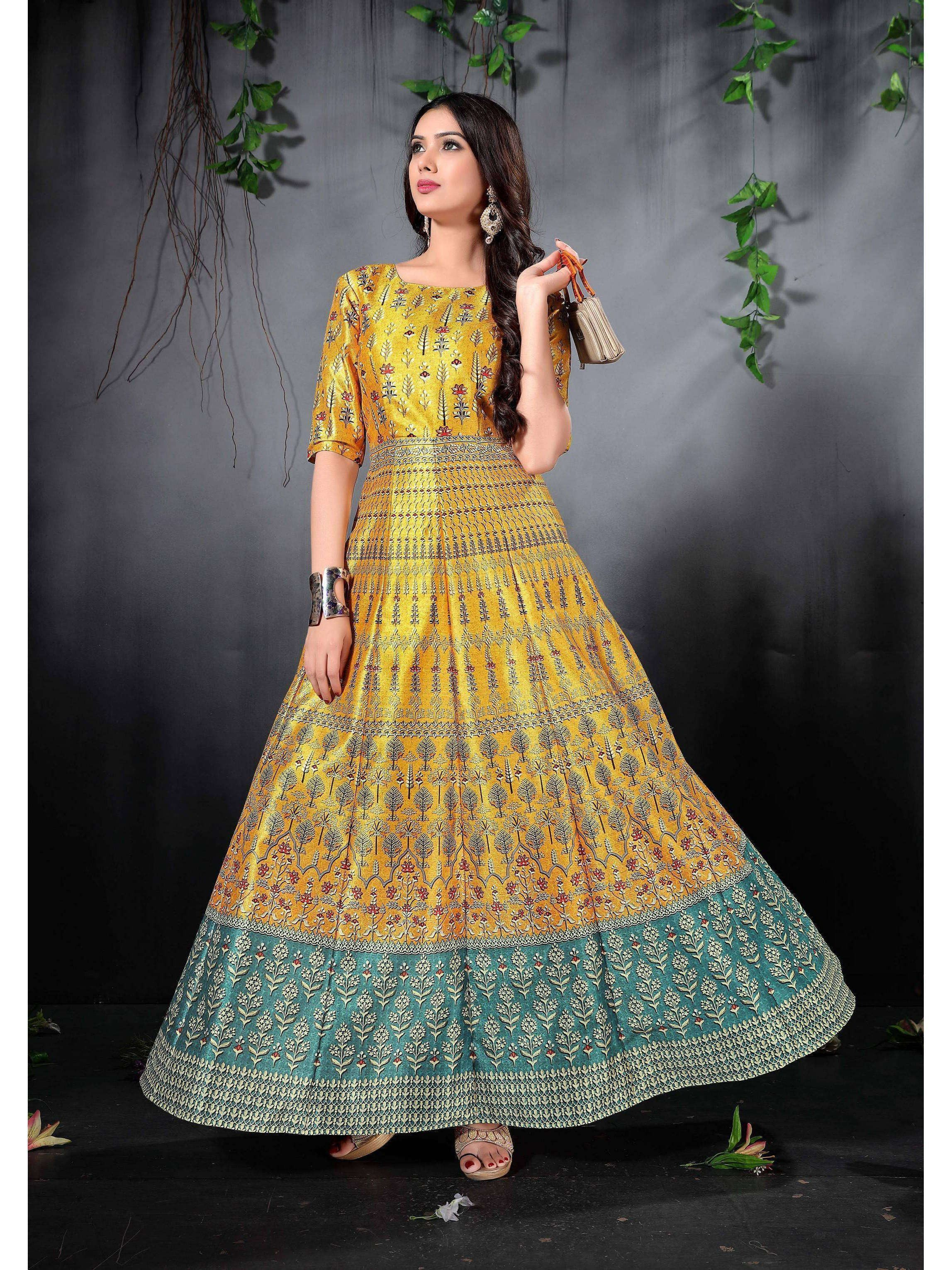 Yellow Digital Floral Printed Readymade Gown