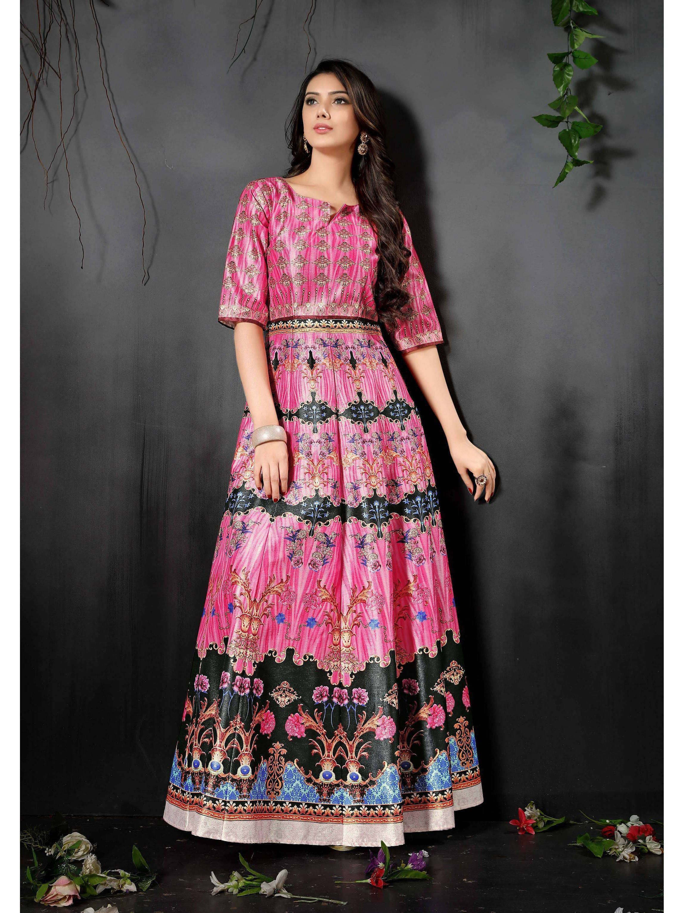 Pink Digital Floral Printed Readymade Gown