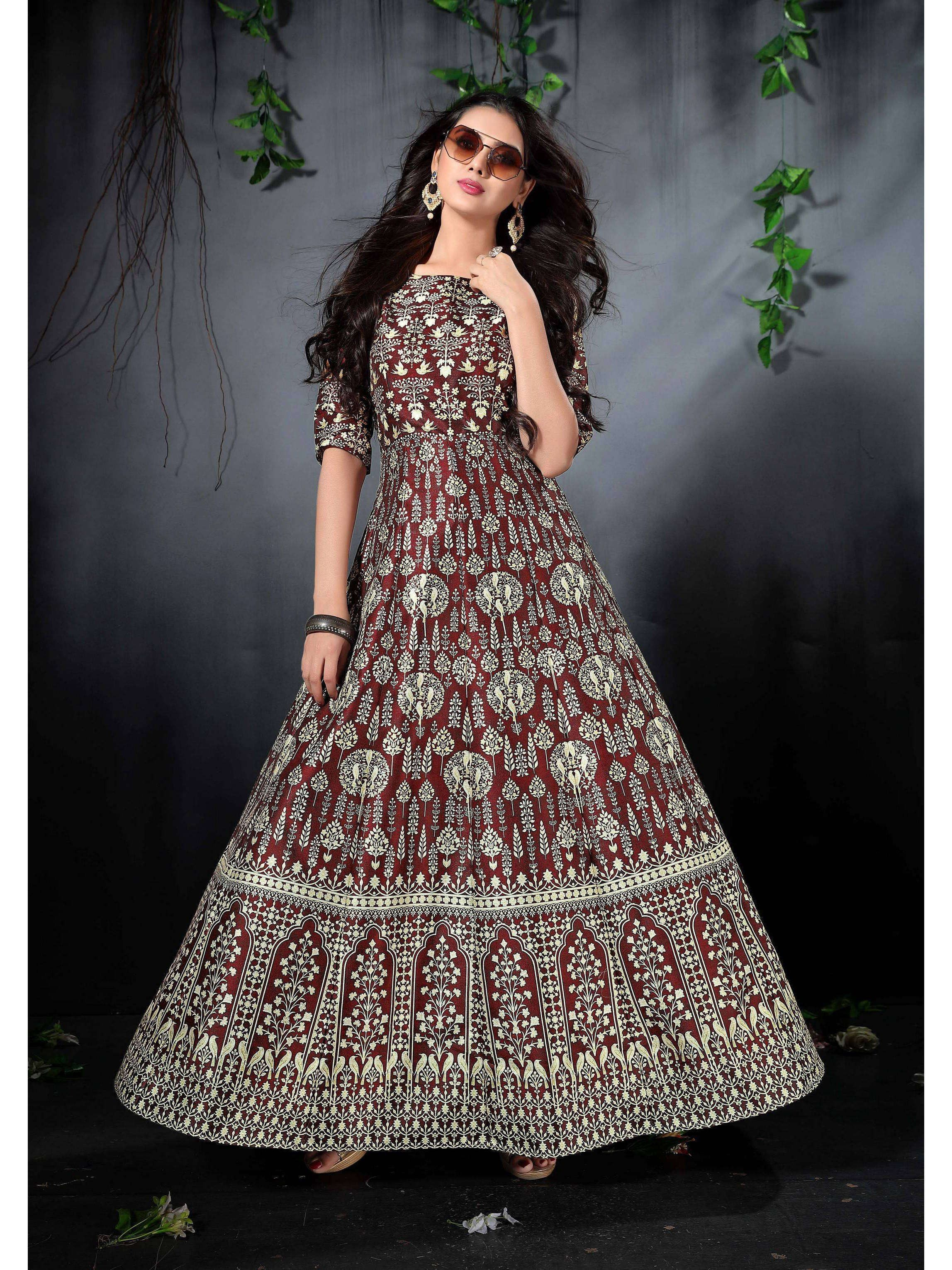 Dark Brown Digital Printed Readymade Gown