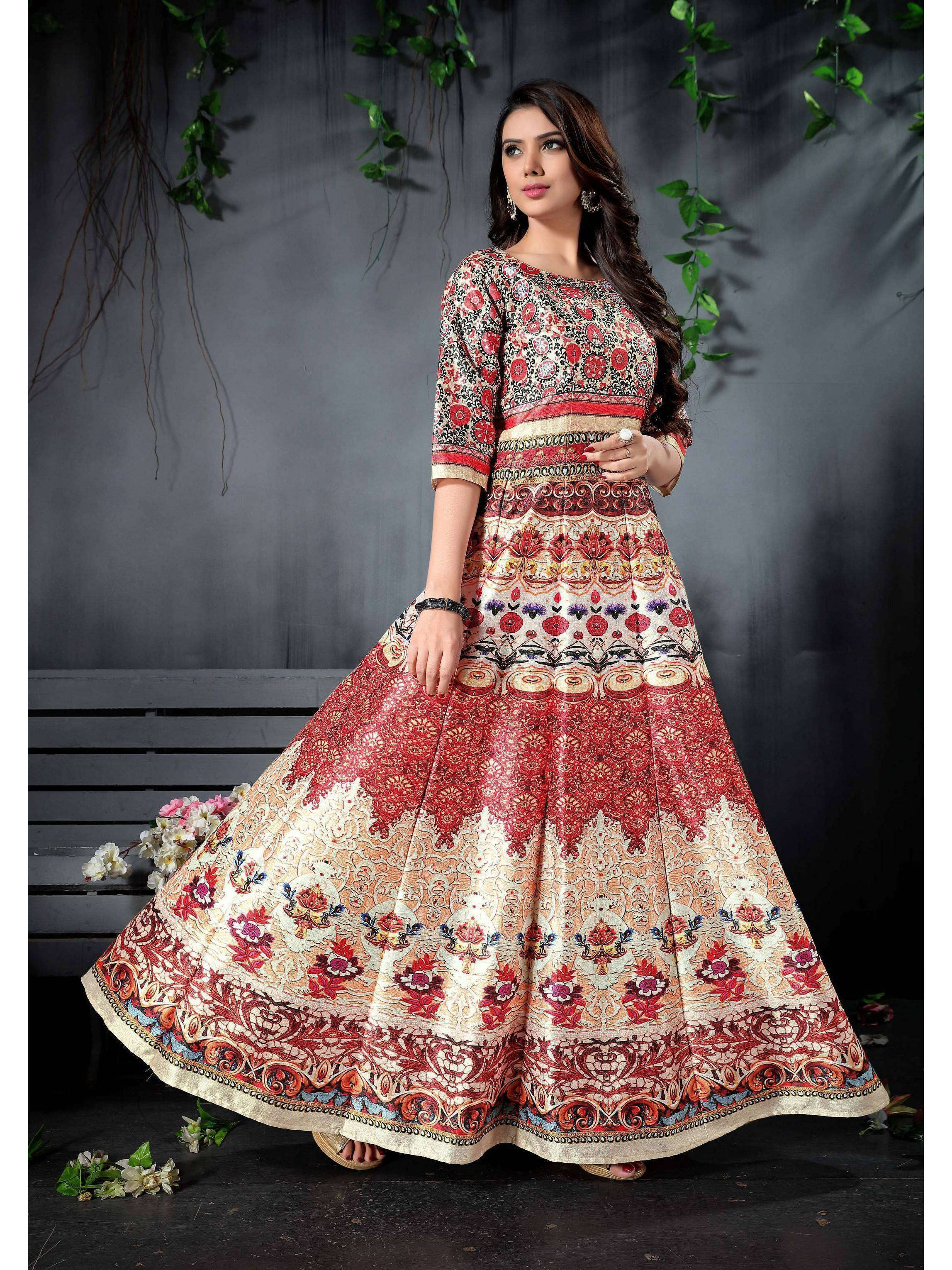 Red-Cream Digital Printed Readymade Gown