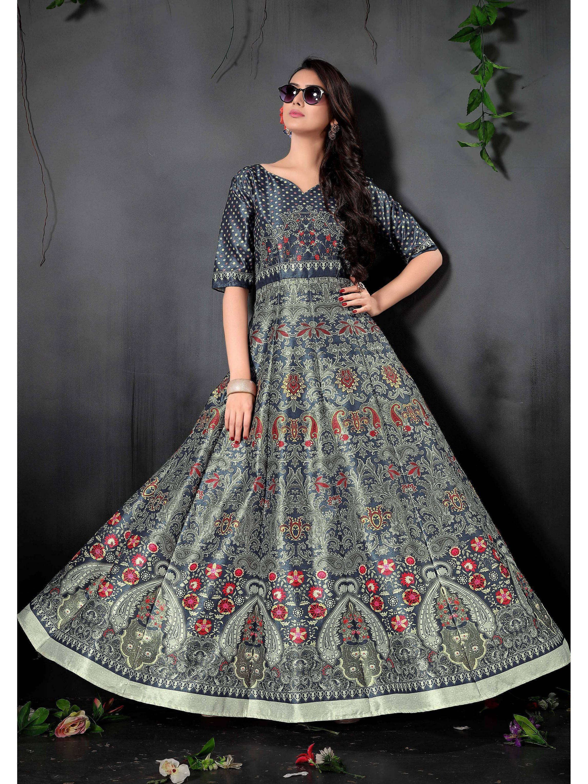 Navy Blue Digital Floral Printed Readymade Gown