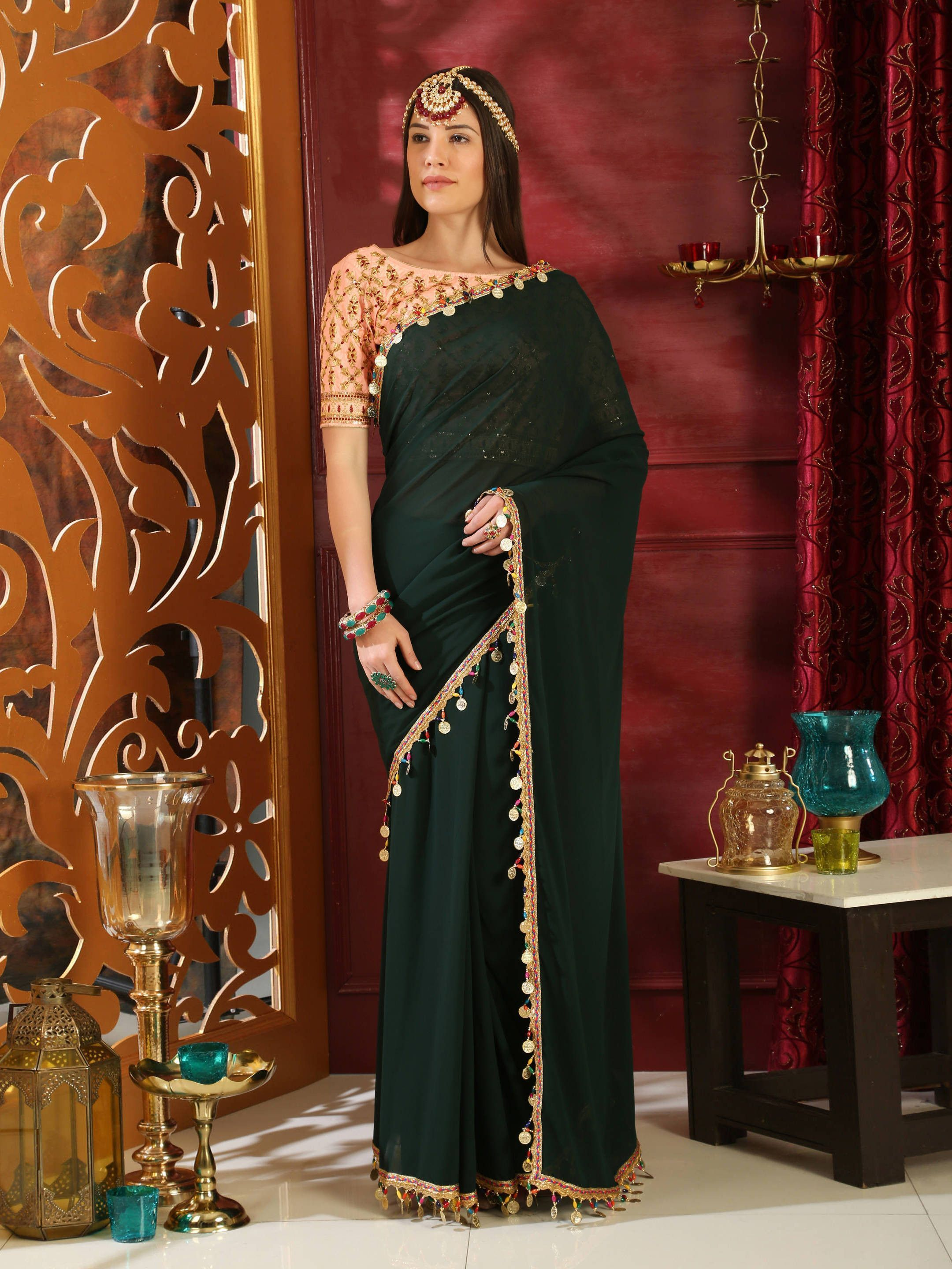 Bottle Green Embroidered Georgette Partywear Saree With Blouse
