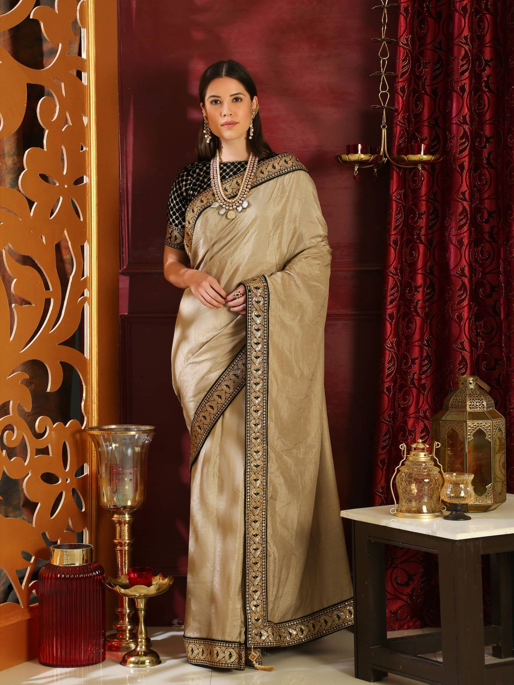 Beige Silk Embroidered Saree With Blouse