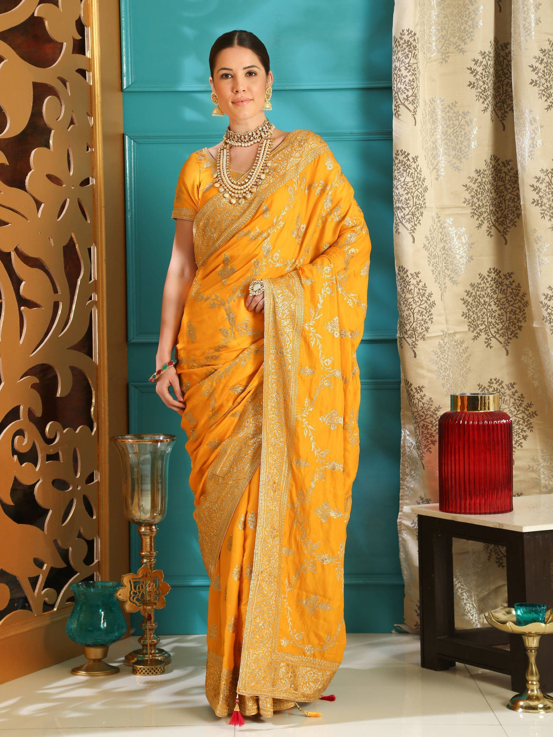 Yellow Embroidered Silk Wedding Saree With Blouse